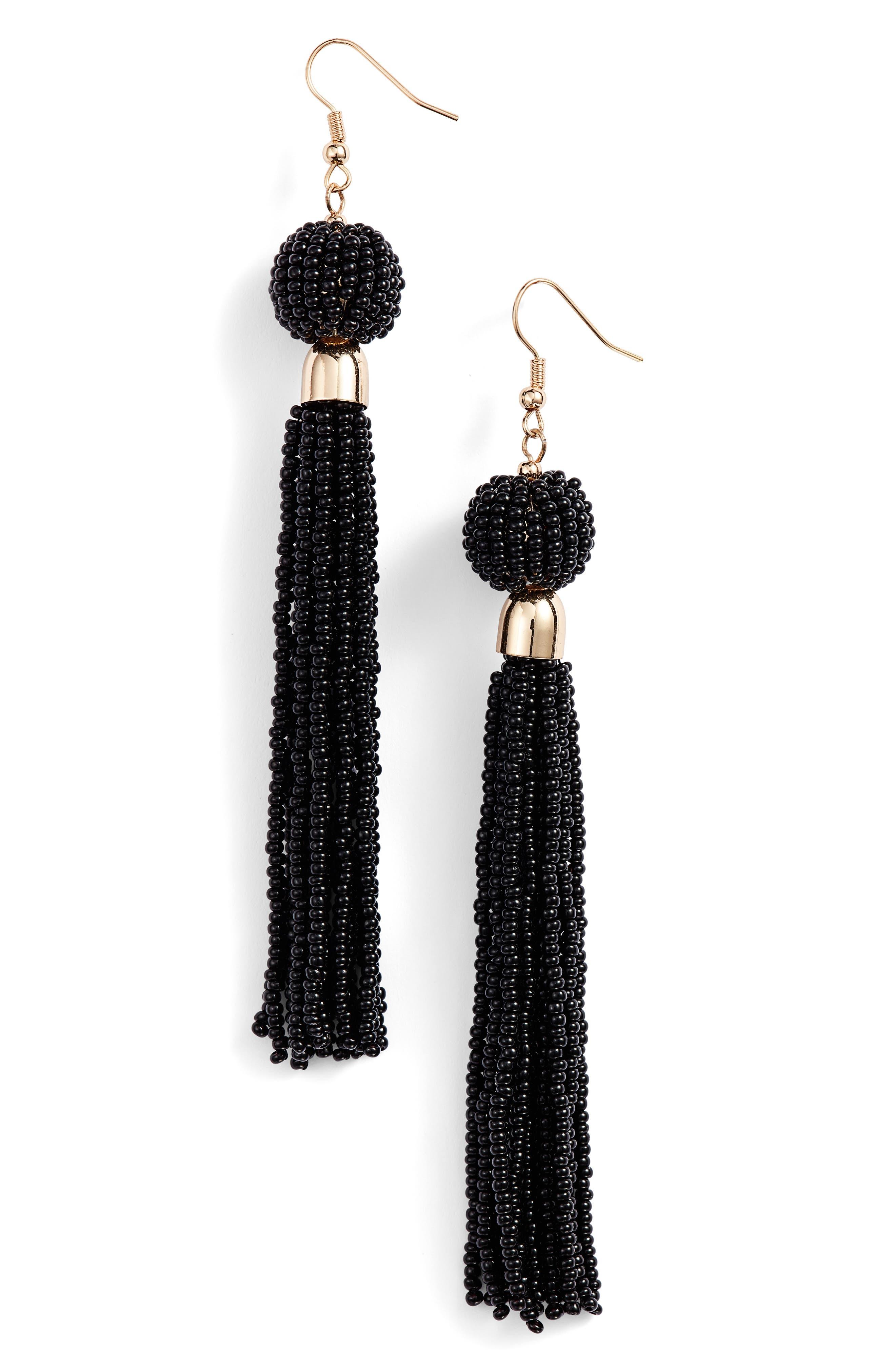 Beaded Fringe Drop Earrings,                             Main thumbnail 1, color,