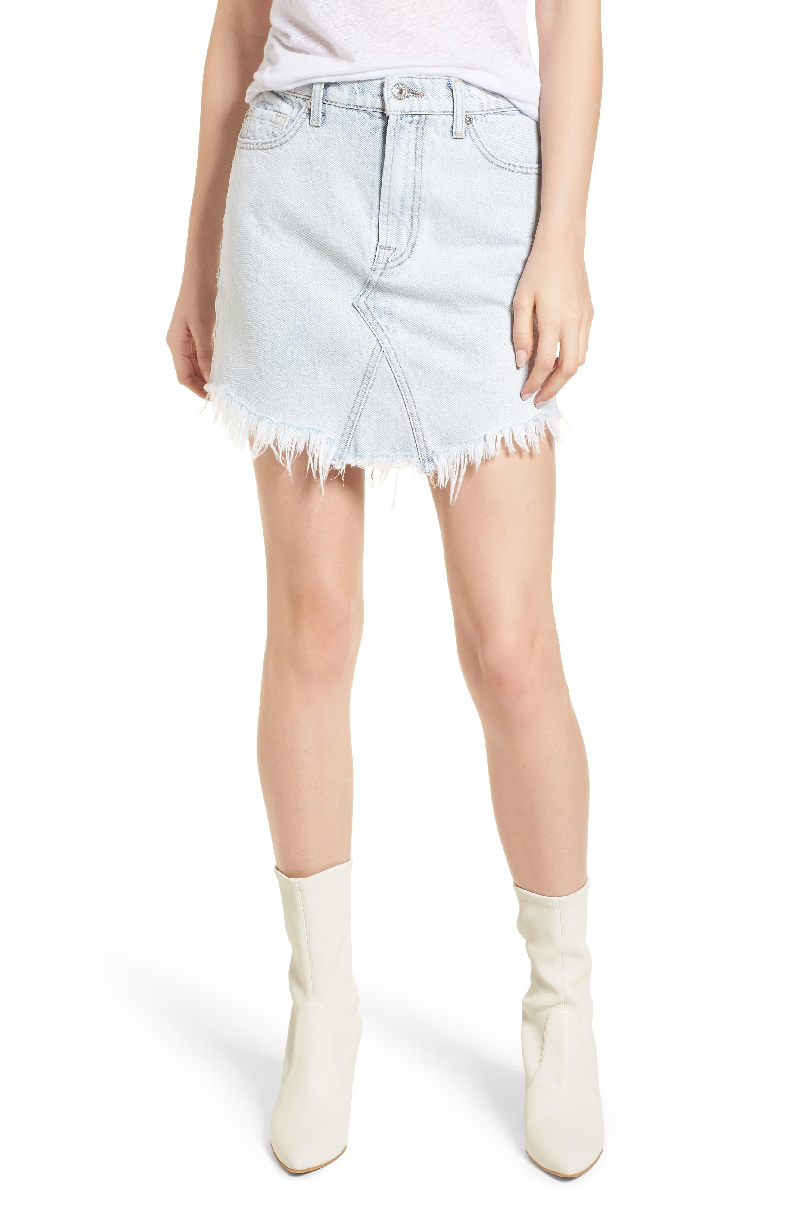 Scallop Fray Hem Denim Skirt,                             Main thumbnail 1, color,