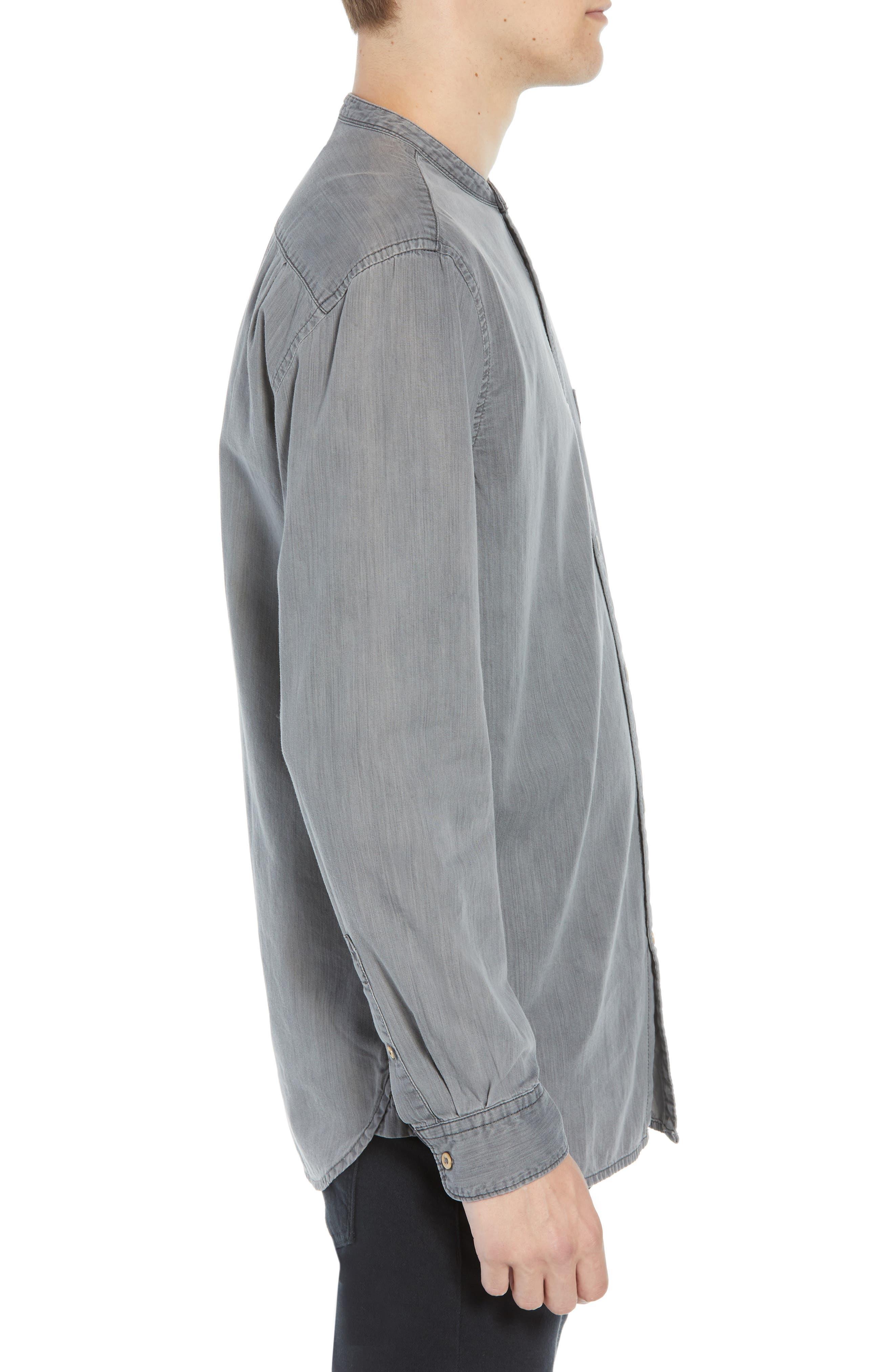 Slim Fit Band Collar Denim Shirt,                             Alternate thumbnail 4, color,                             GREY