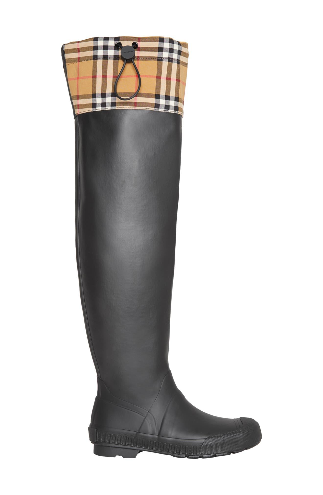 BURBERRY,                             Freddie Tall Waterproof Rain Boot,                             Alternate thumbnail 2, color,                             BLACK