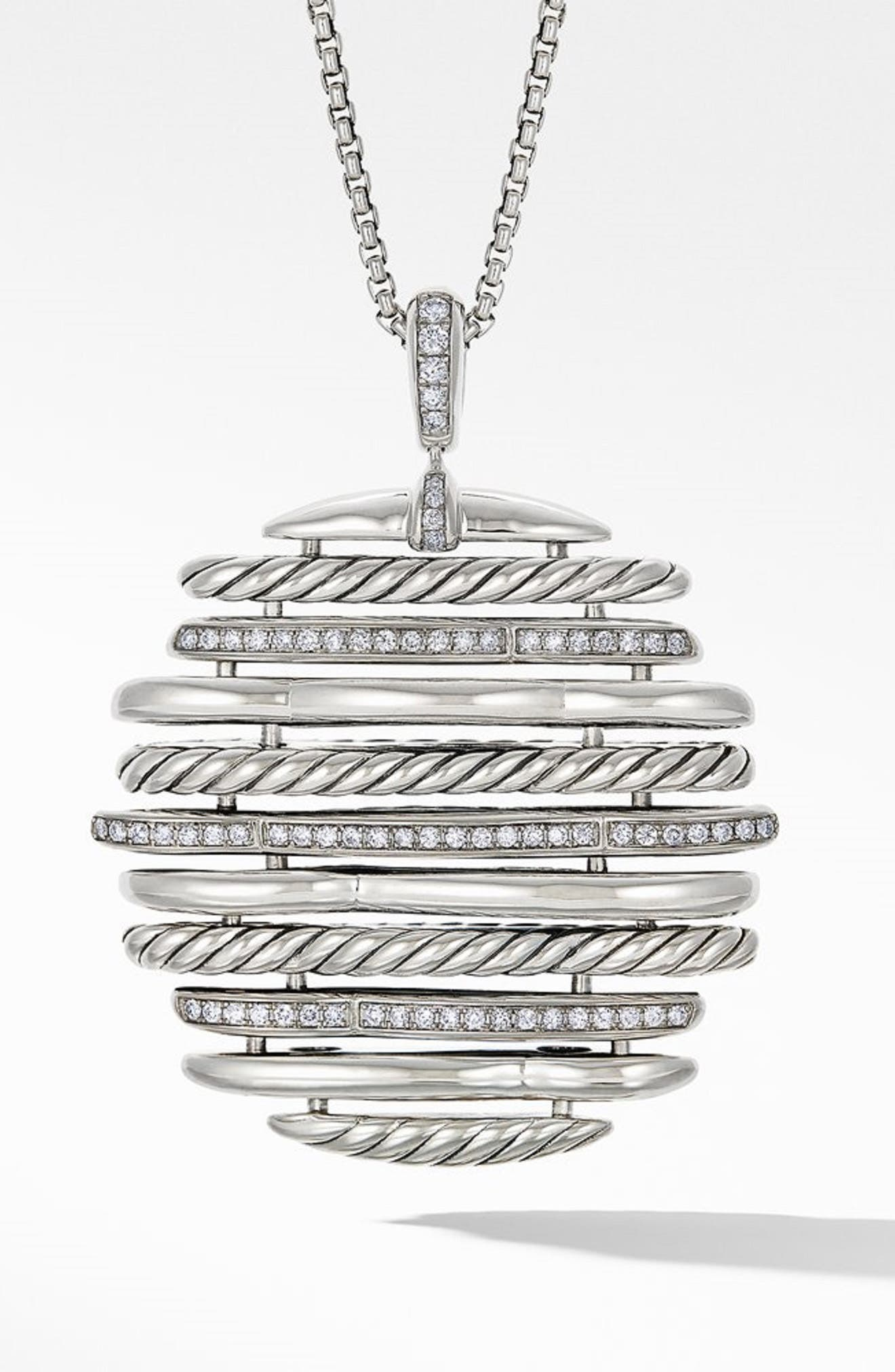 Tides Pendant Necklace with Diamonds,                             Main thumbnail 1, color,                             STERLING SILVER/ DIAMOND