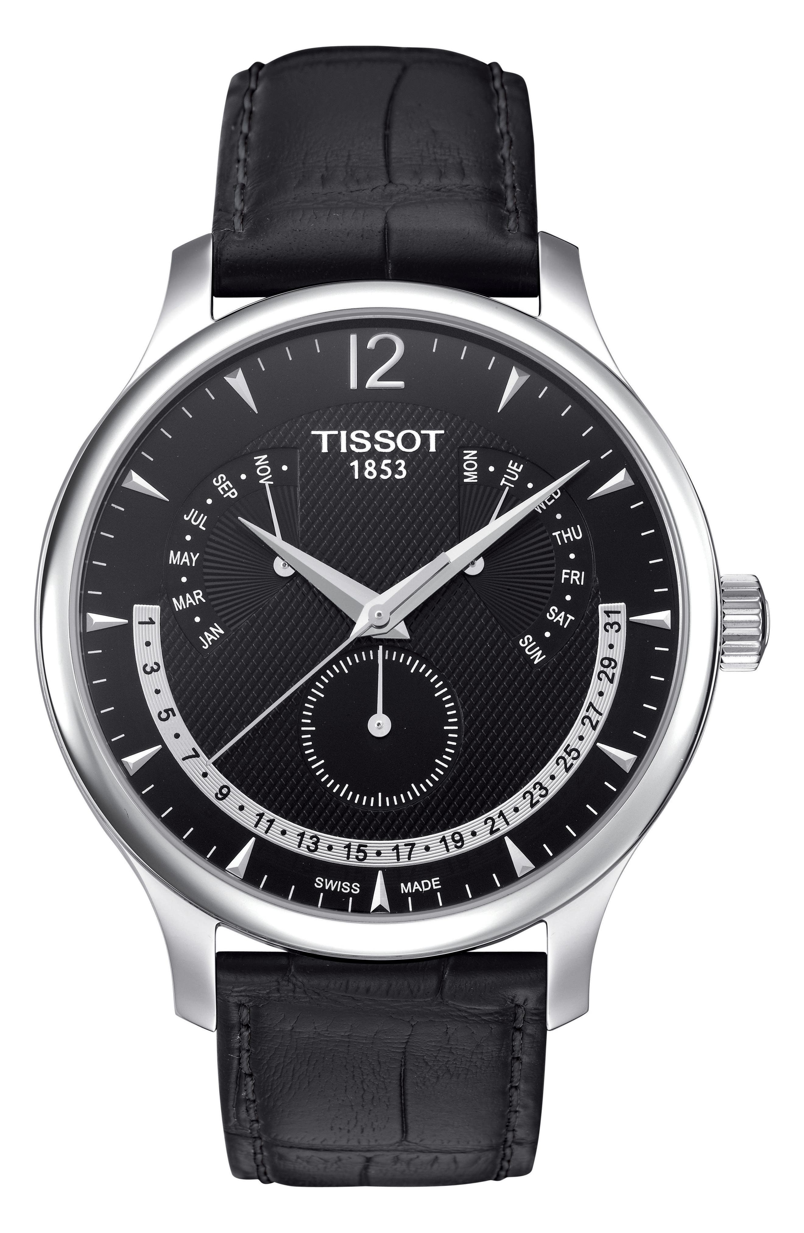 Tradition Calendar Leather Strap Watch, 42mm,                             Main thumbnail 1, color,                             BLACK/ SILVER