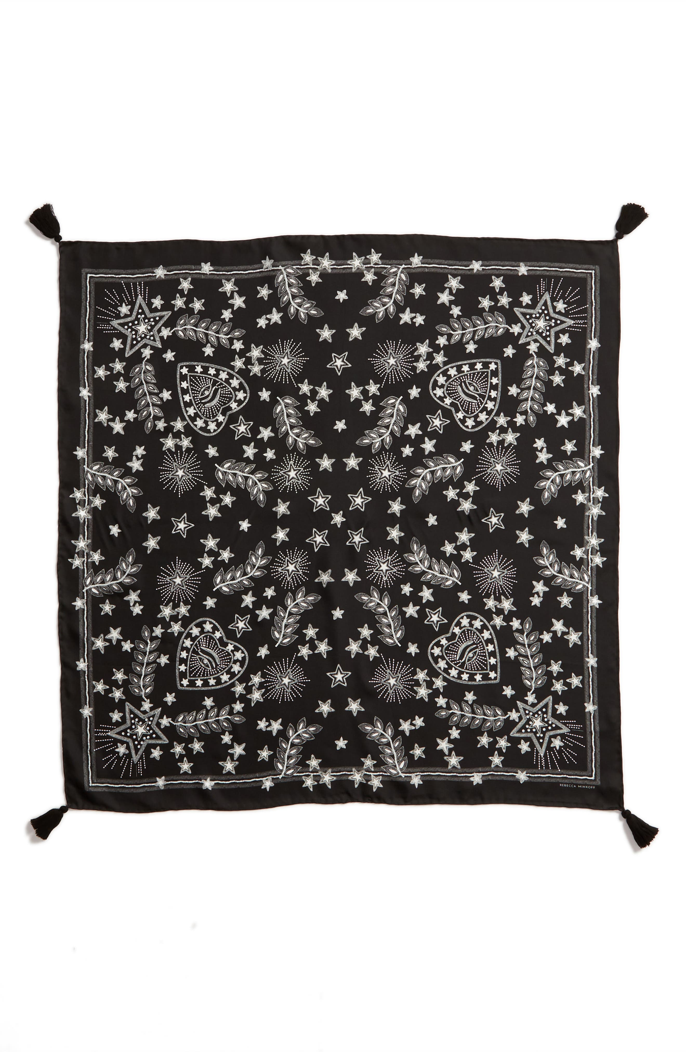 Celestial Silk Scarf,                             Alternate thumbnail 3, color,                             BLACK