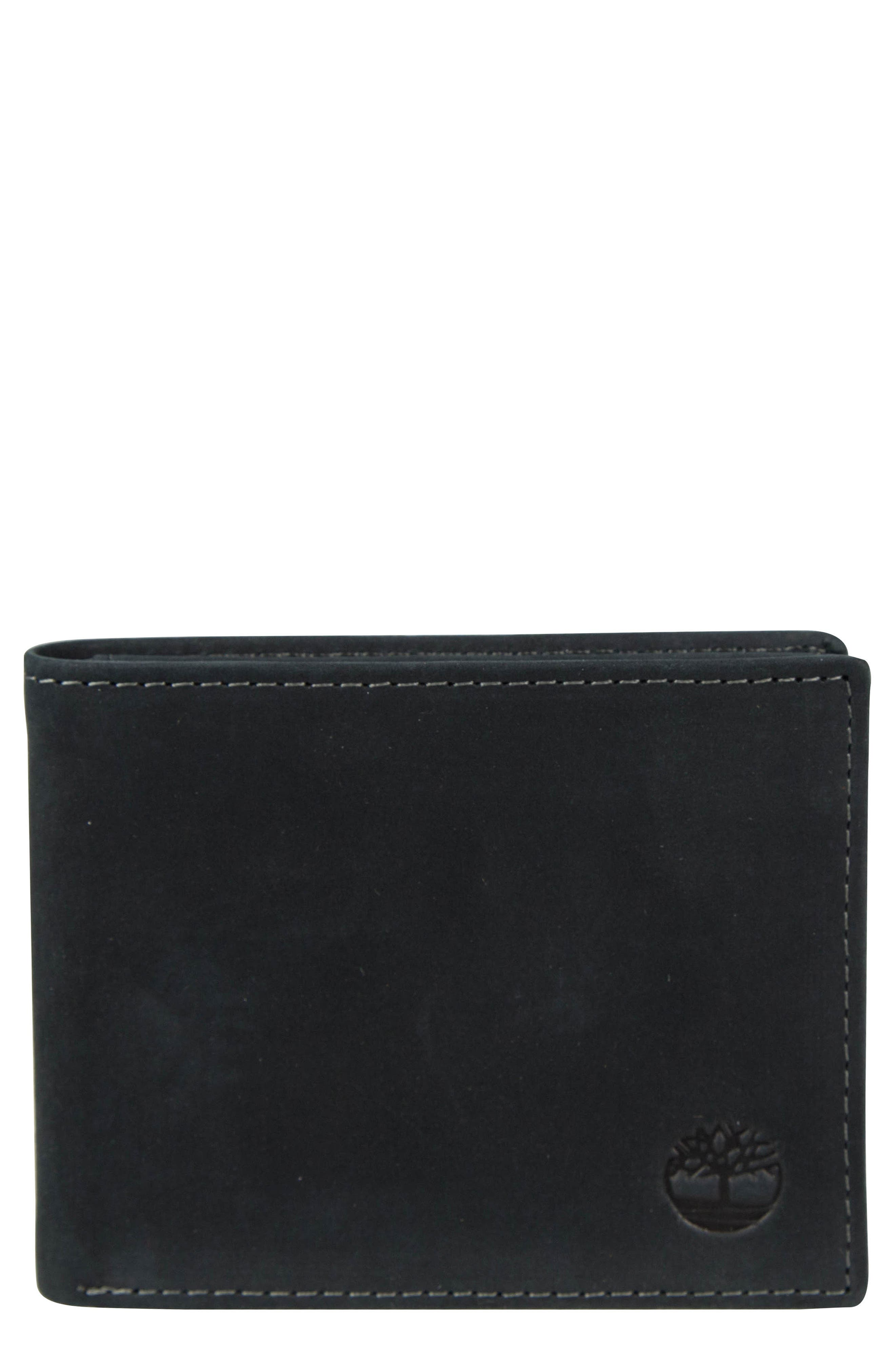 Icon Leather Wallet,                             Main thumbnail 1, color,                             BLACK