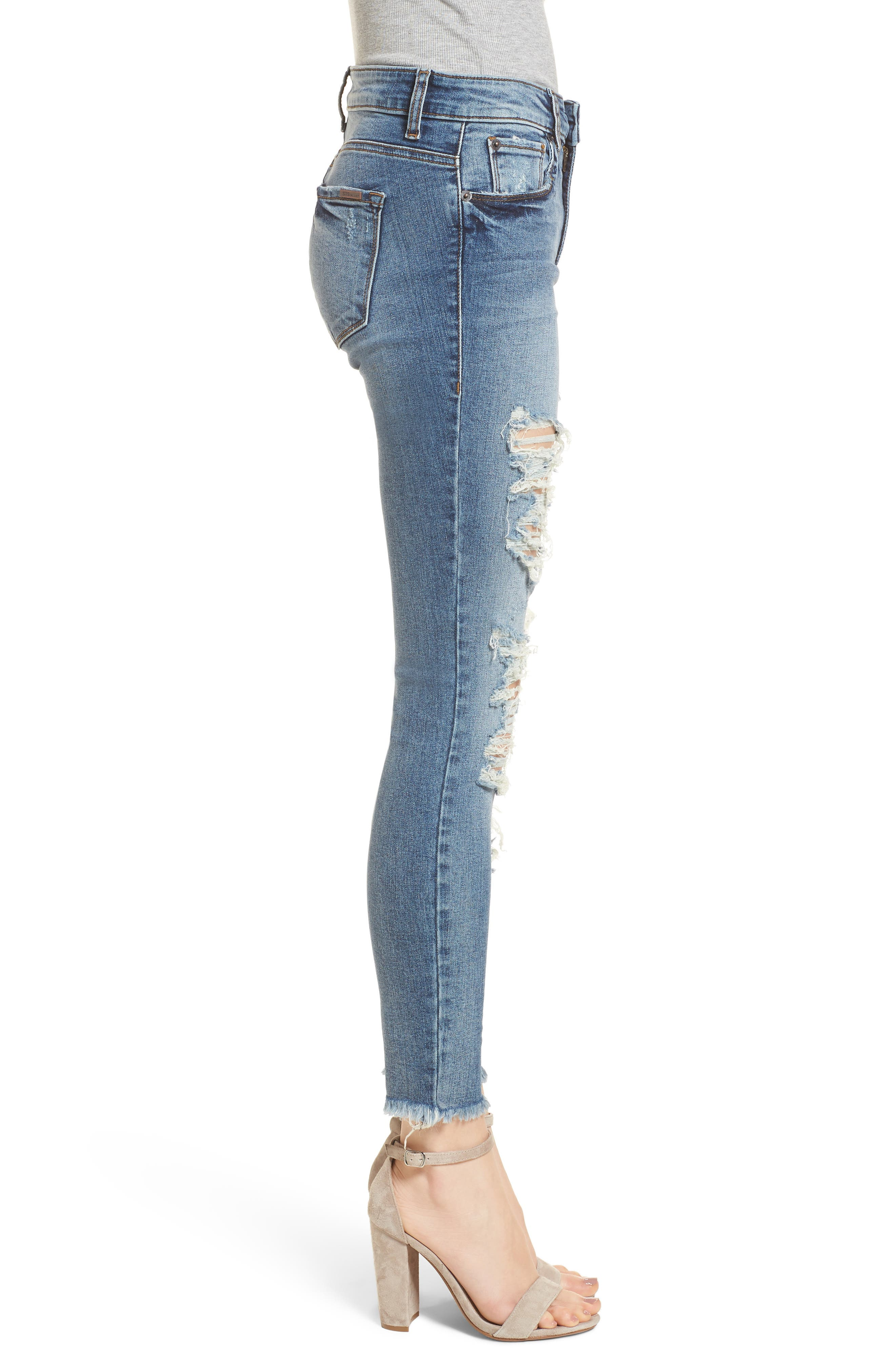Emma Fray Hem Ripped Ankle Jeans,                             Alternate thumbnail 3, color,                             400