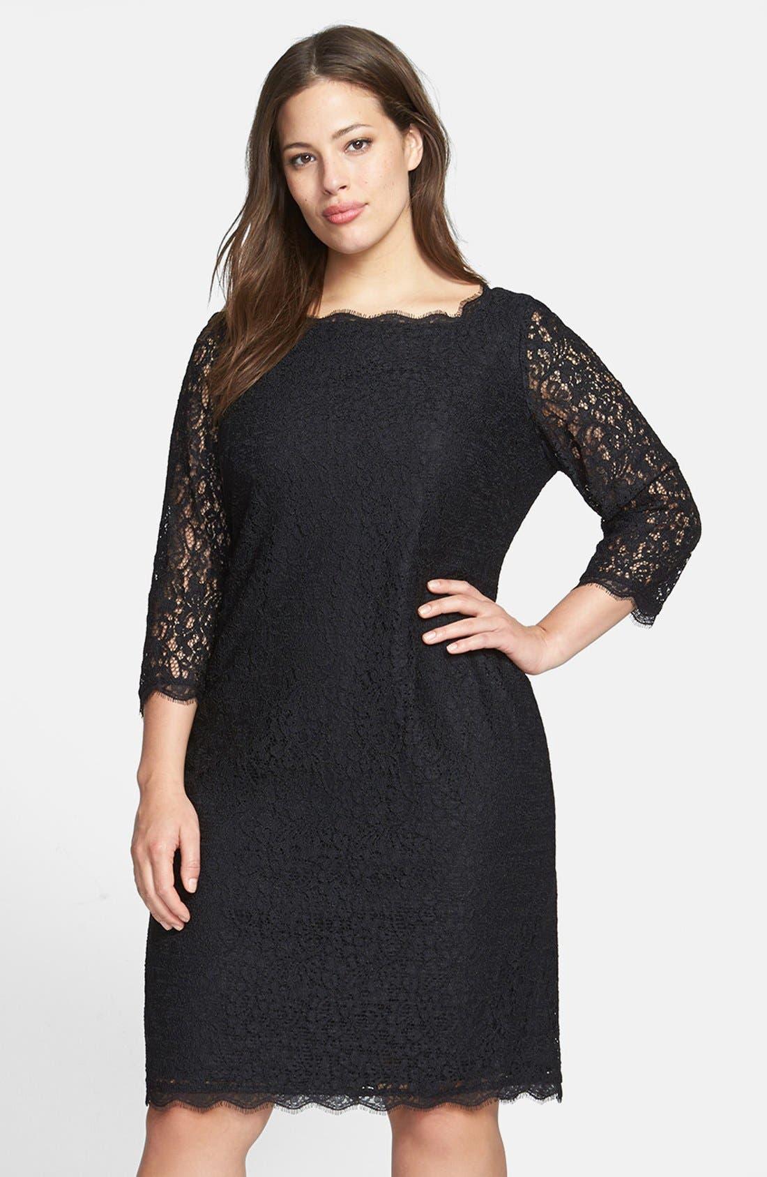 Lace Overlay Sheath Dress,                             Main thumbnail 1, color,                             BLACK