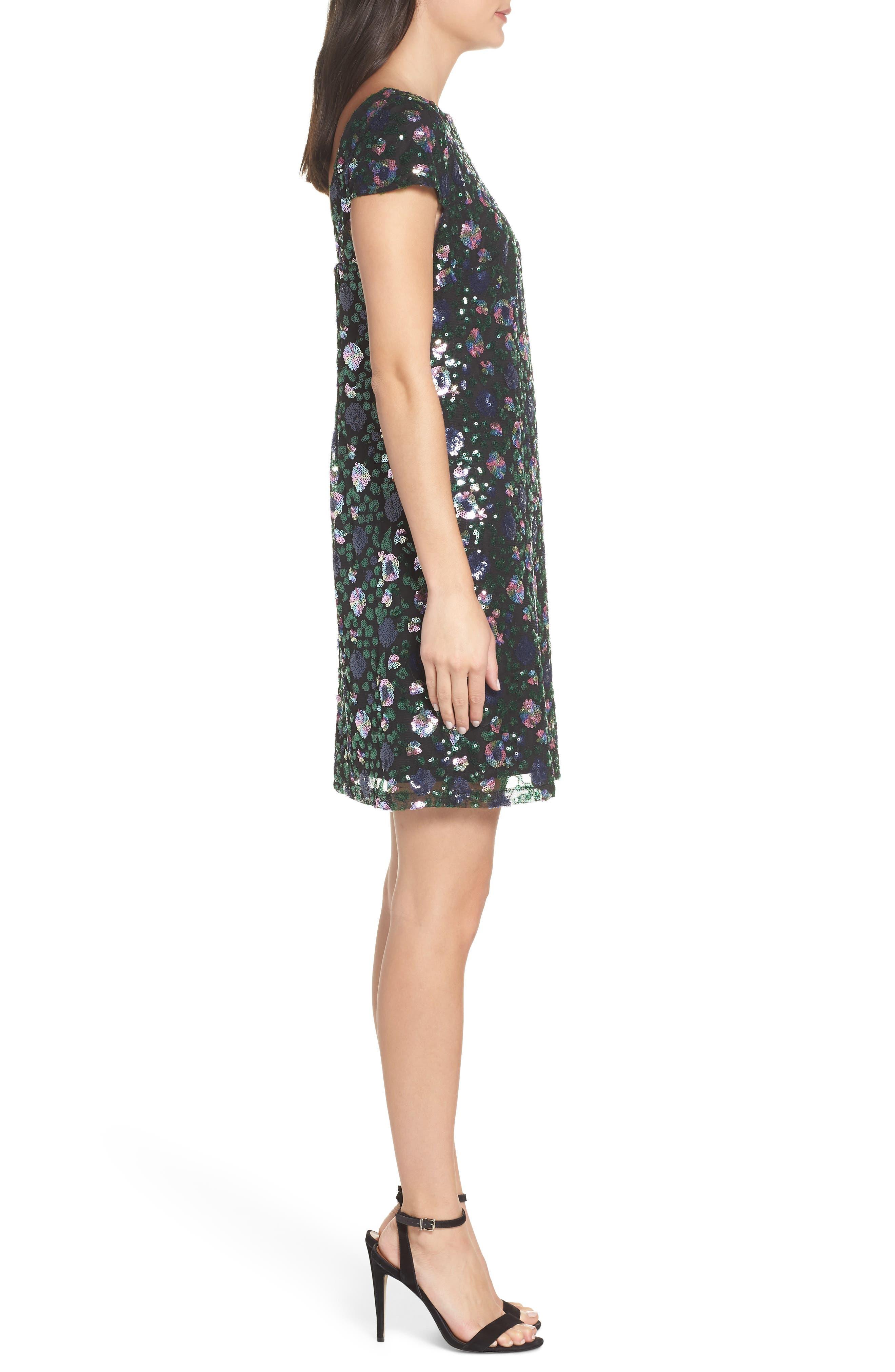 Floral Sequin Sheath Dress,                             Alternate thumbnail 3, color,                             PURPLE/ GREEN