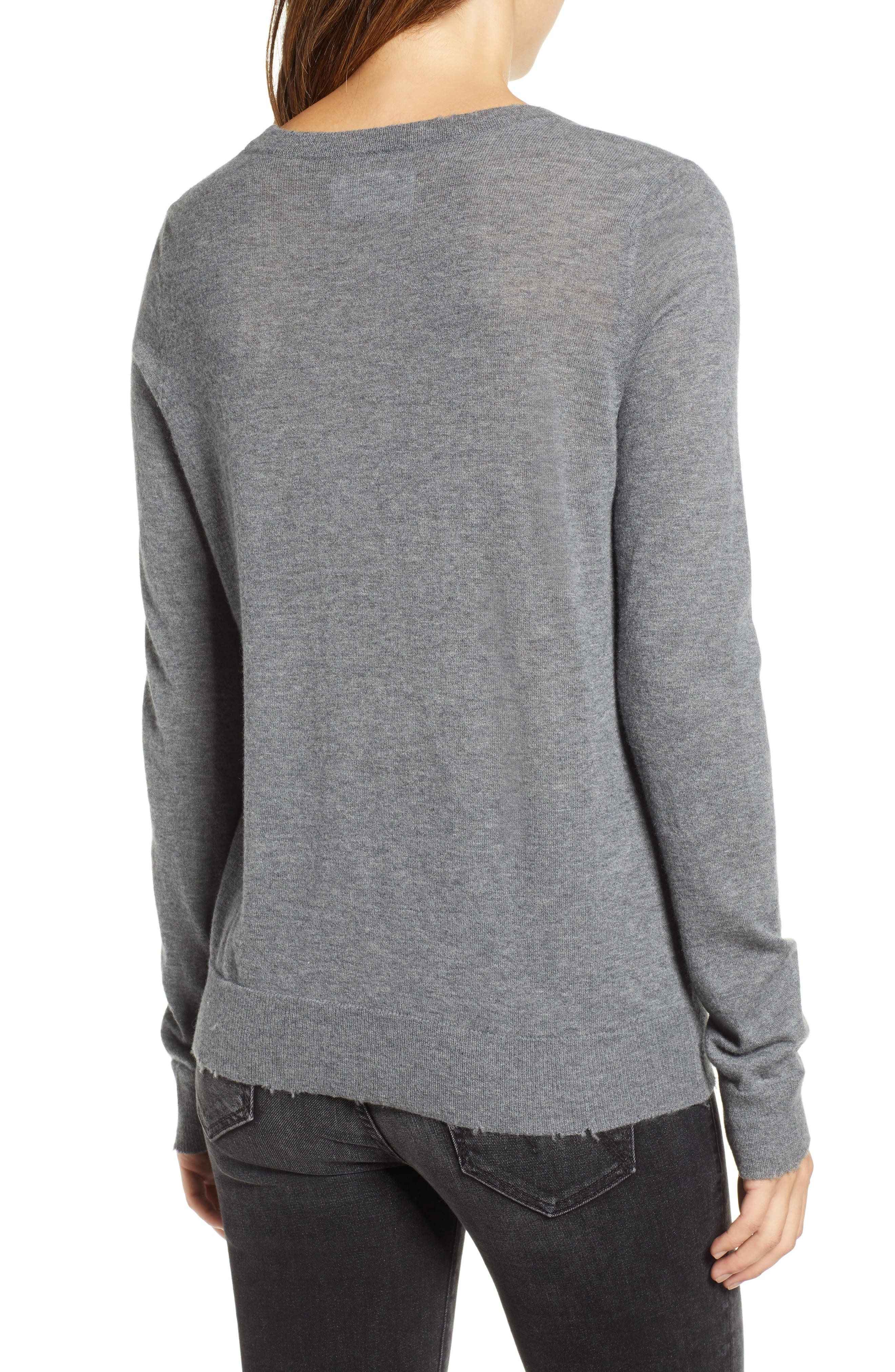 Miss Bis Skull Cashmere Tee,                             Alternate thumbnail 2, color,                             GRIS