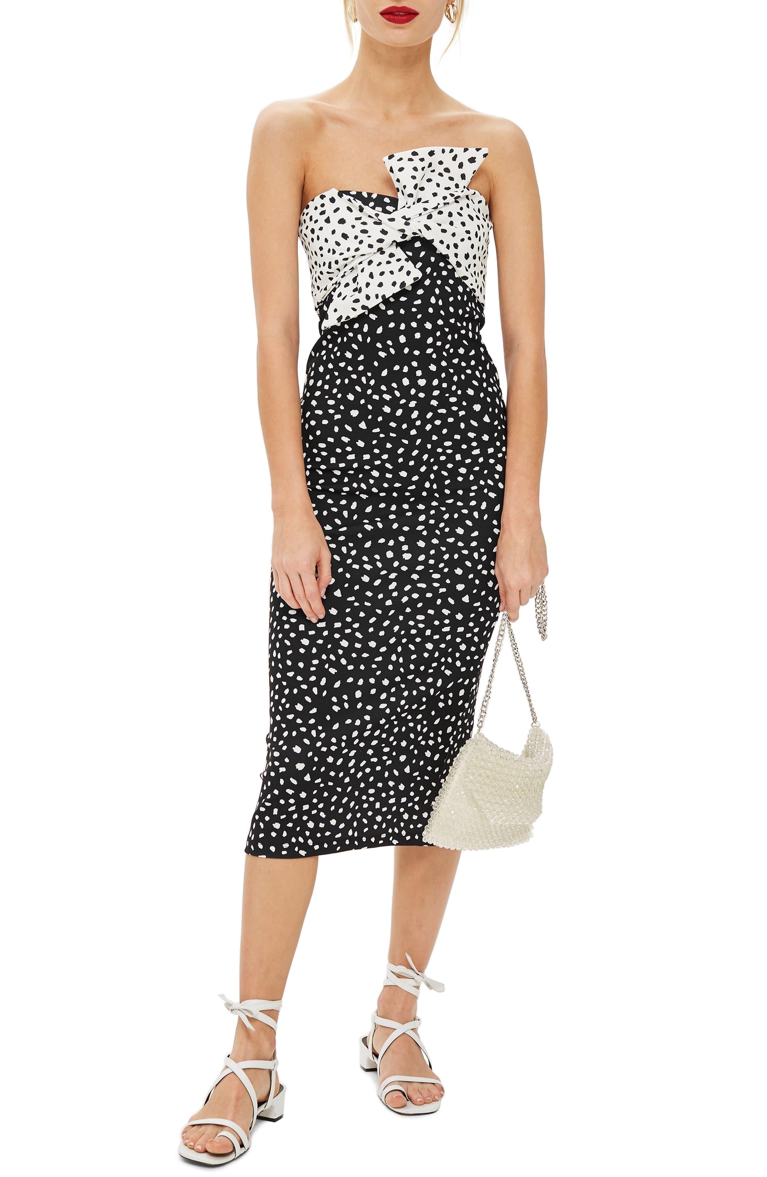 Bow Twist Midi Dress,                         Main,                         color, BLACK MULTI