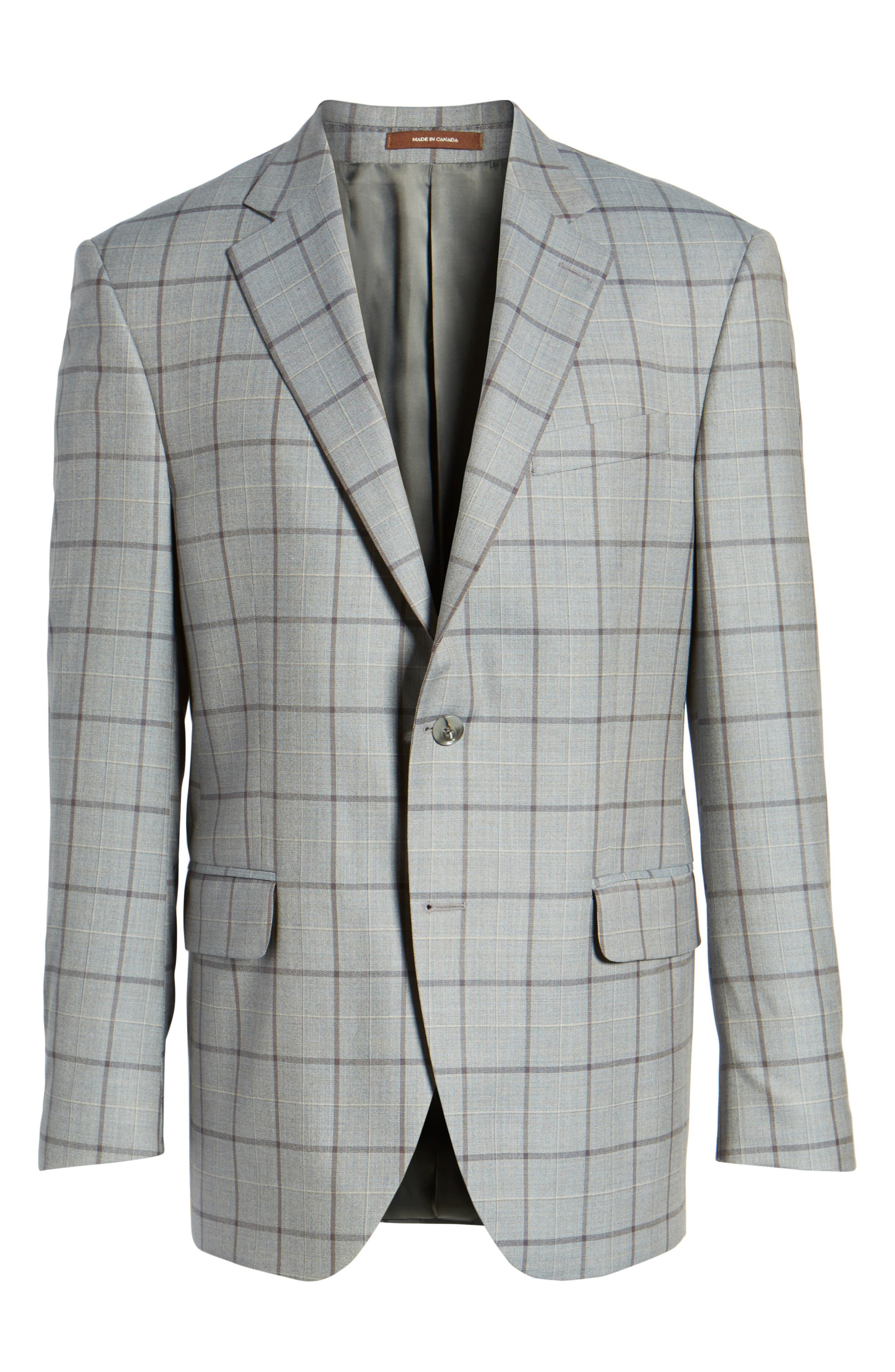Classic Fit Windowpane Wool Sport Coat,                             Alternate thumbnail 5, color,                             020