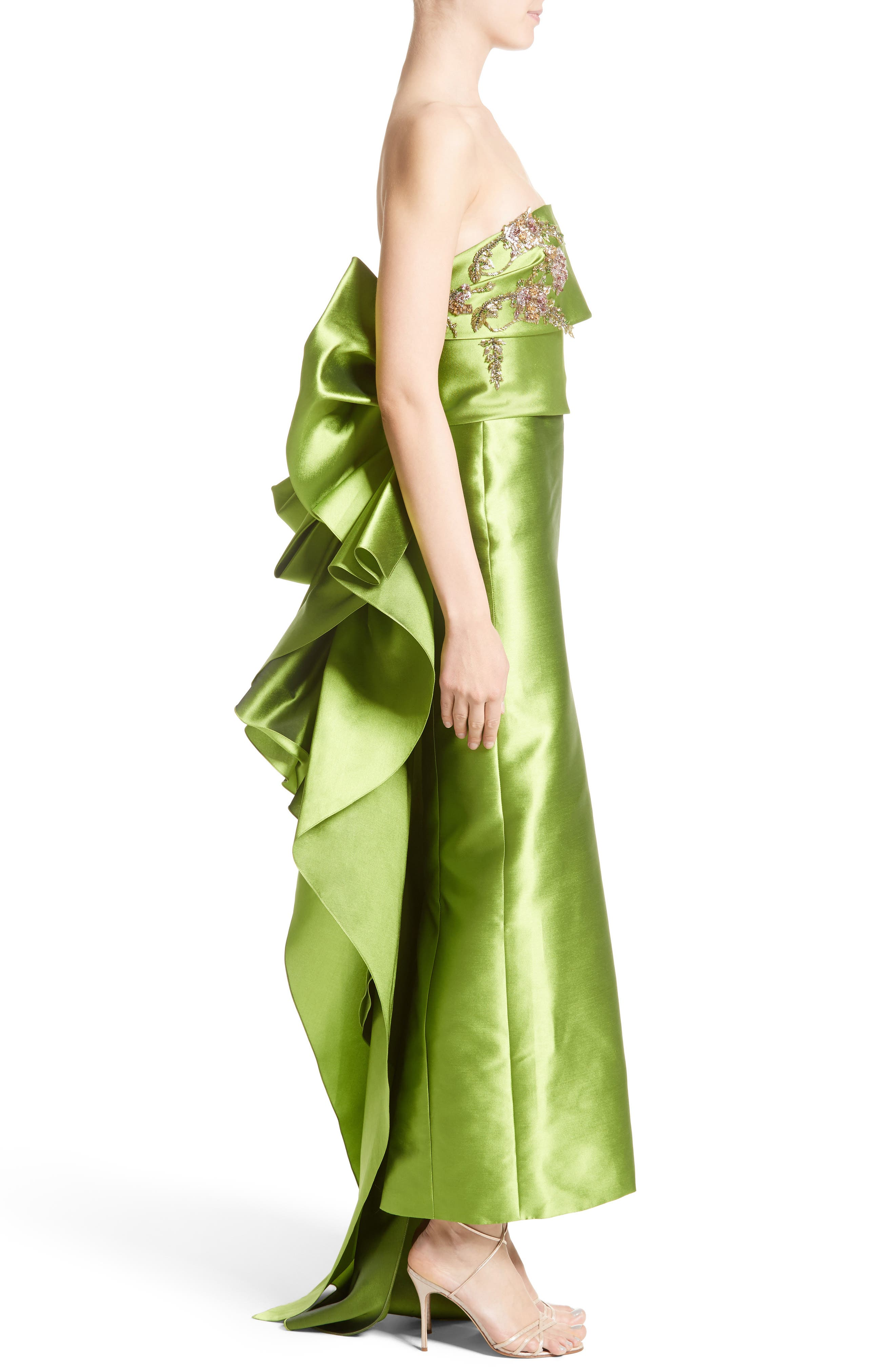 Embellished Mikado Strapless Column Gown,                             Alternate thumbnail 3, color,                             319