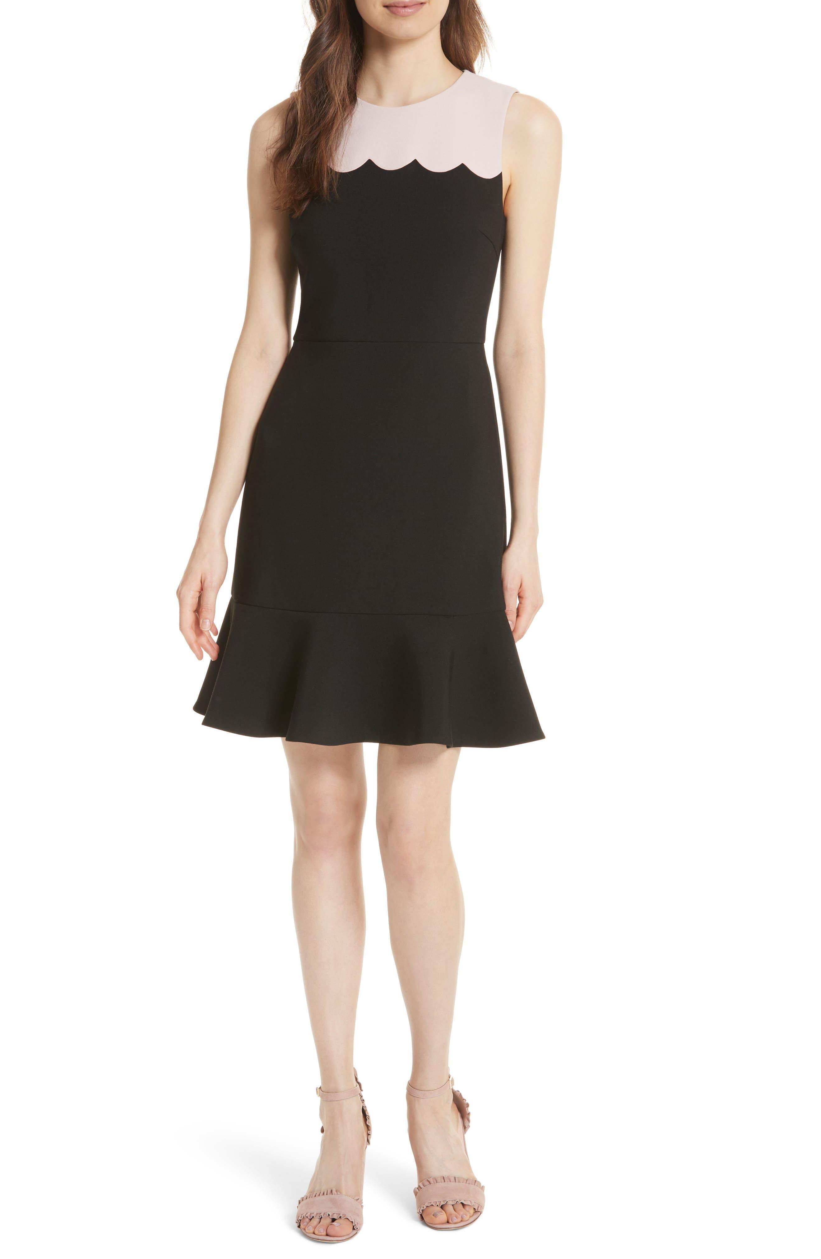 scallop sleeveless dress,                             Main thumbnail 1, color,                             663
