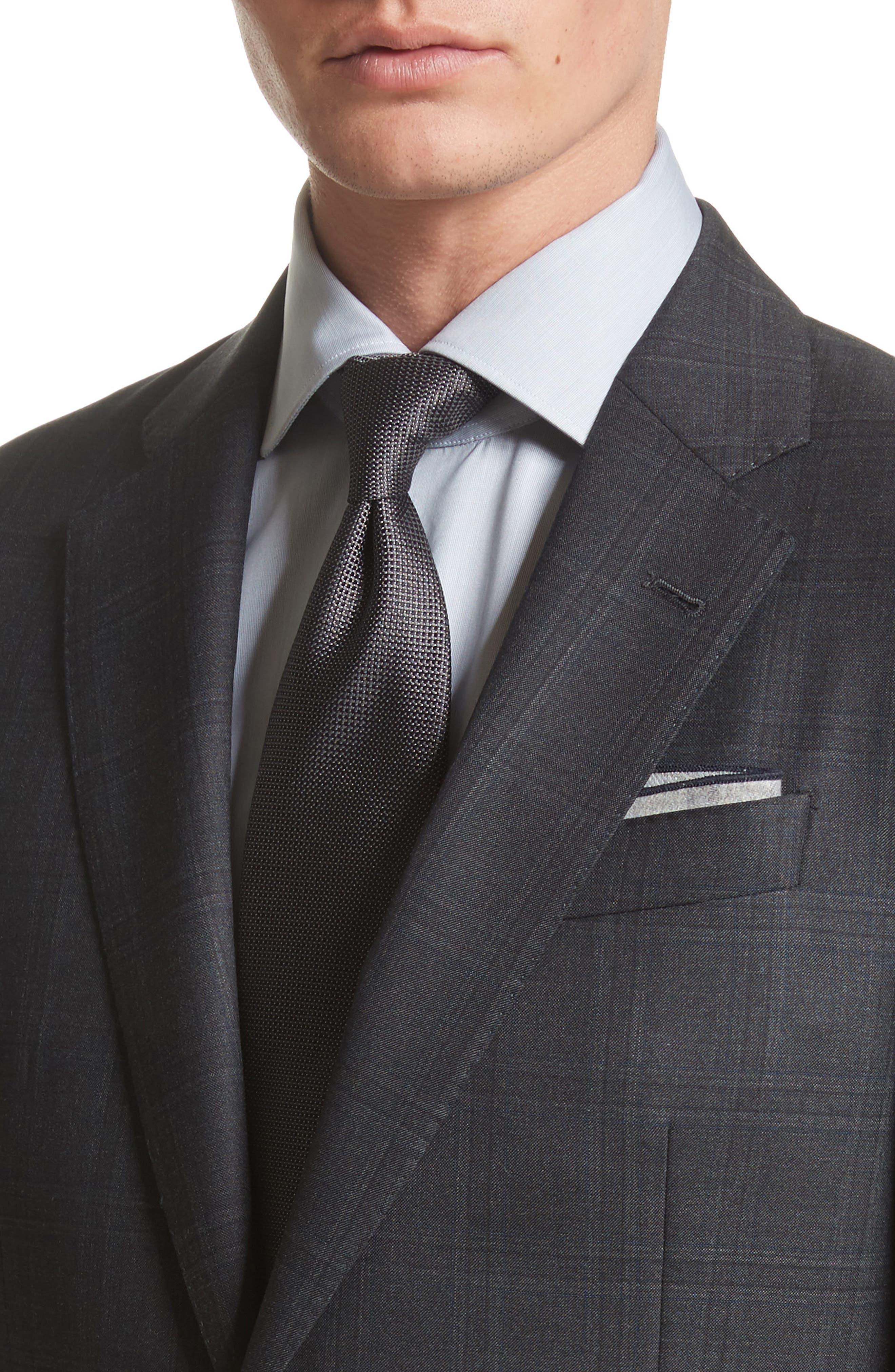 G-Line Trim Fit Plaid Wool Suit,                             Alternate thumbnail 4, color,                             017