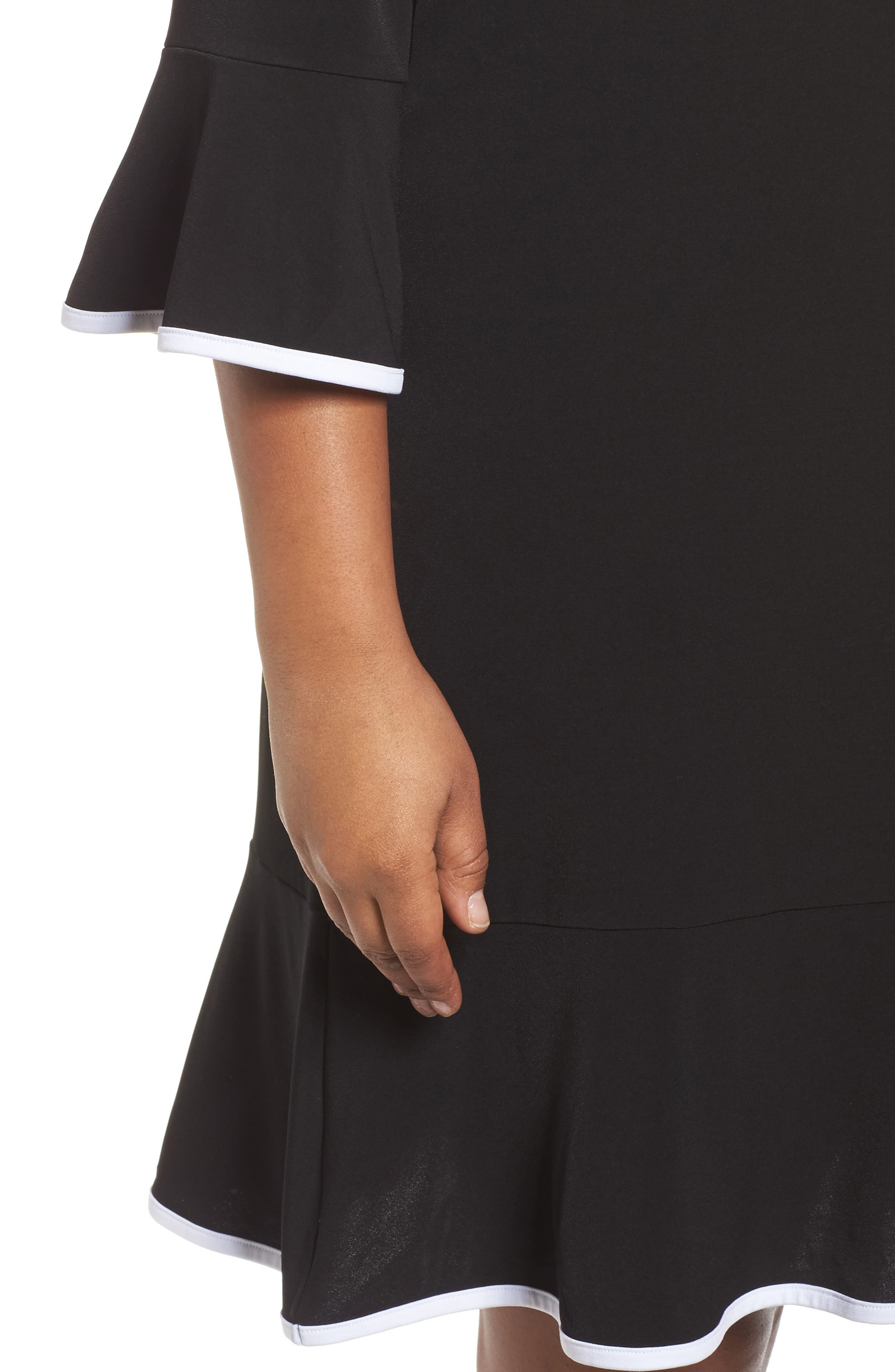 Solid Flounce Dress,                             Alternate thumbnail 4, color,                             001