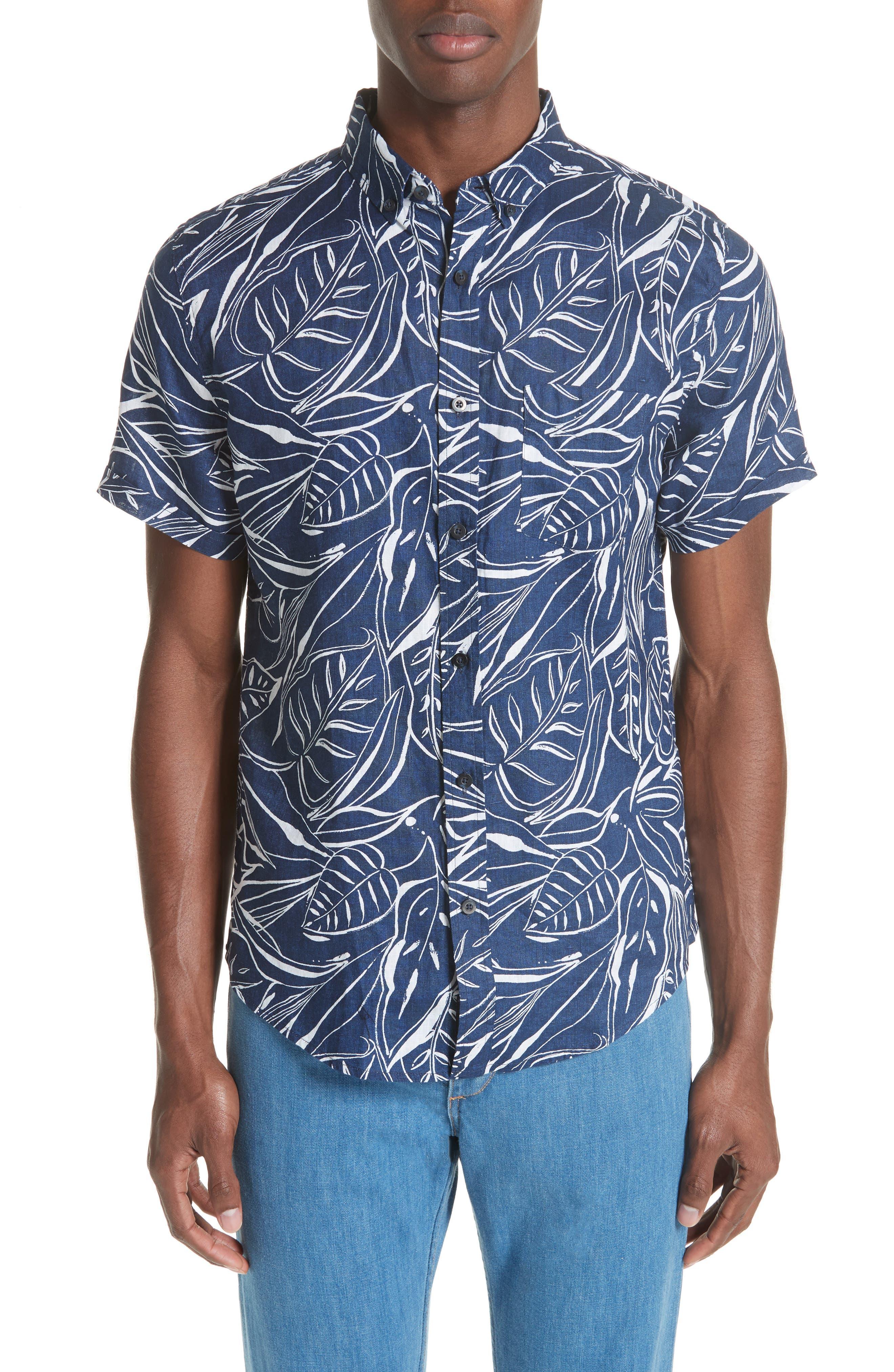 Jack Palm Print Linen Shirt,                             Main thumbnail 1, color,                             DEEP NAVY WHITE