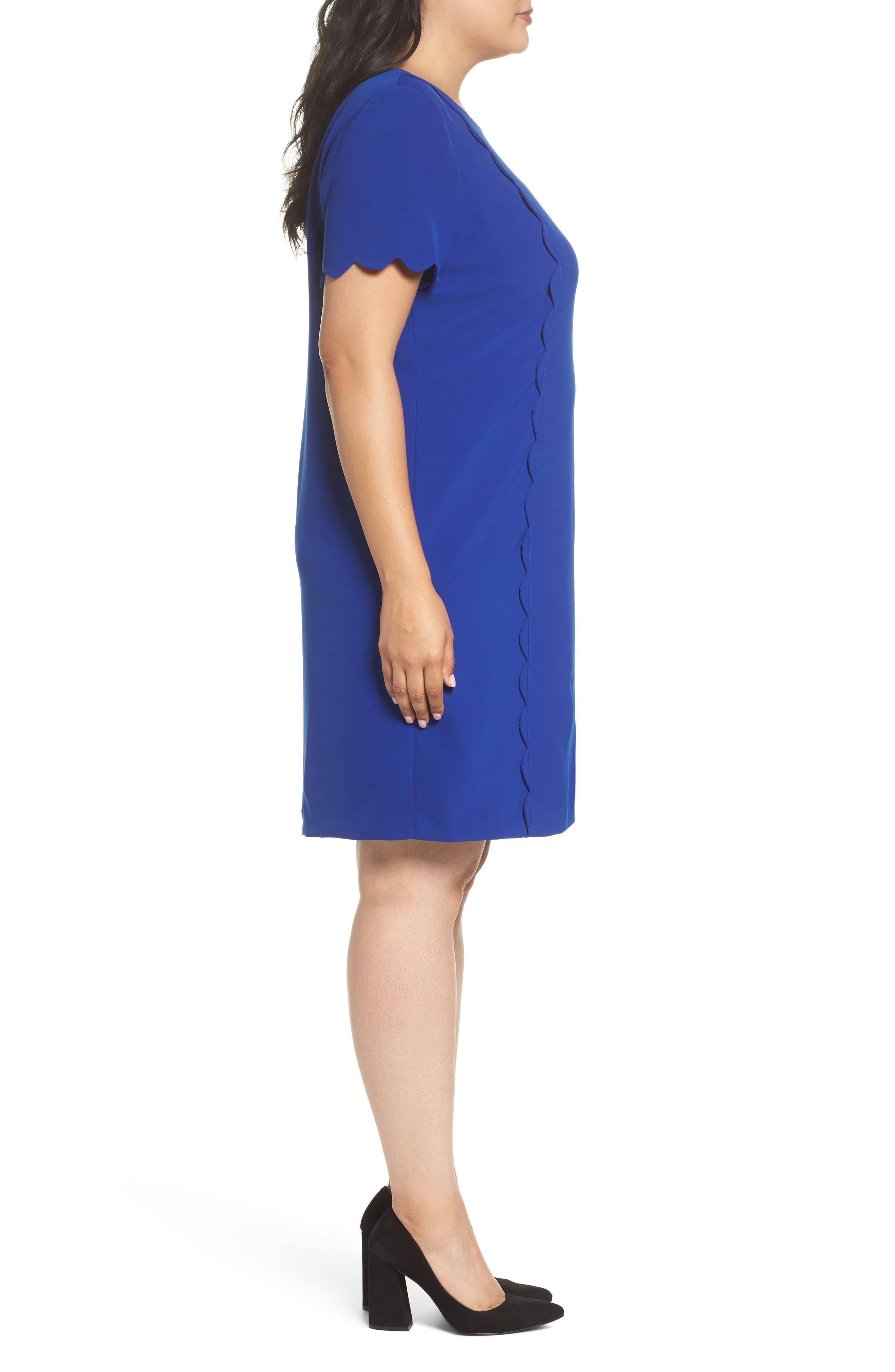 Scalloped Trim Shift Dress,                             Alternate thumbnail 3, color,                             480