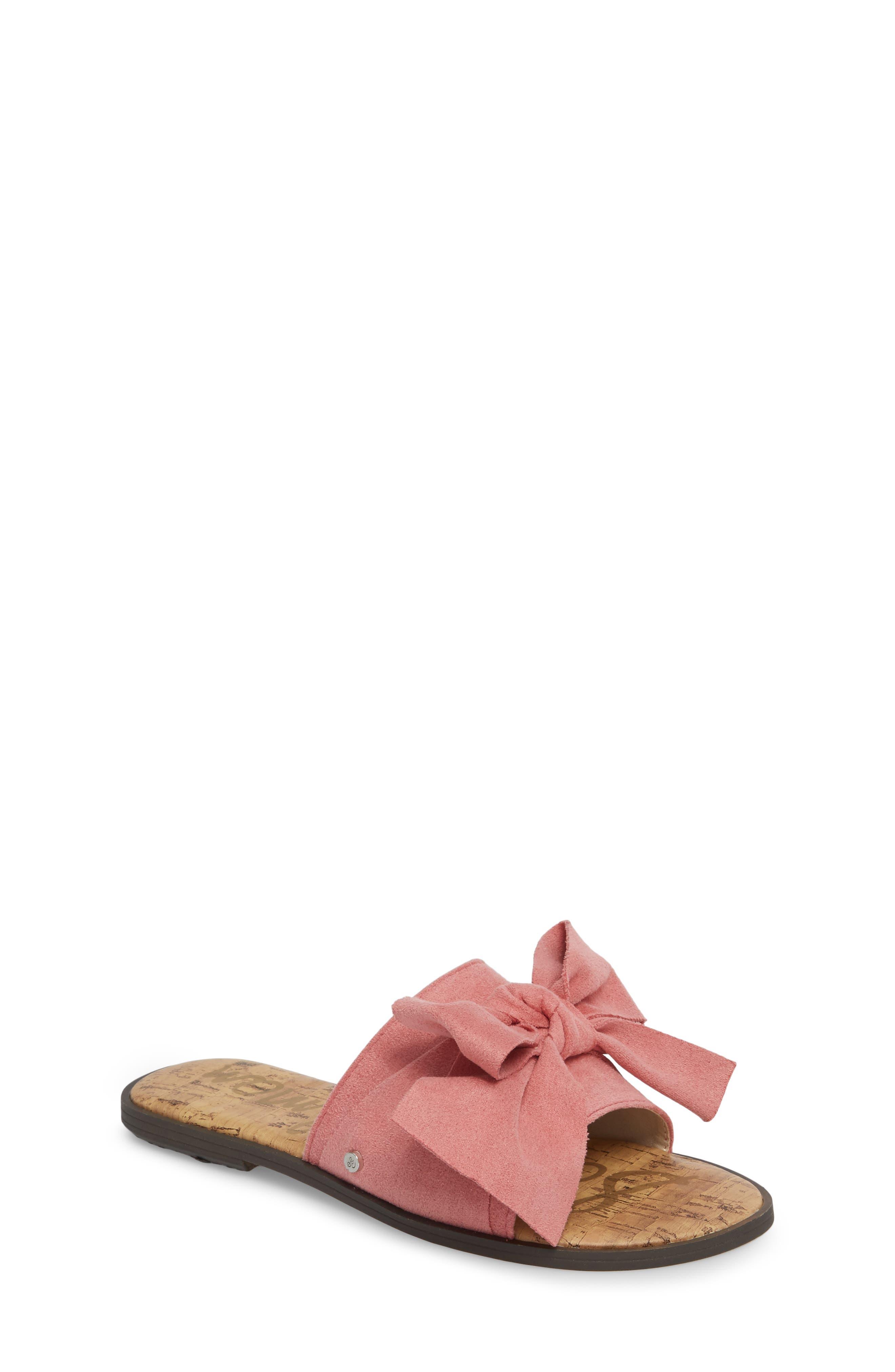 Gigi Bow Faux Leather Sandal,                             Main thumbnail 2, color,