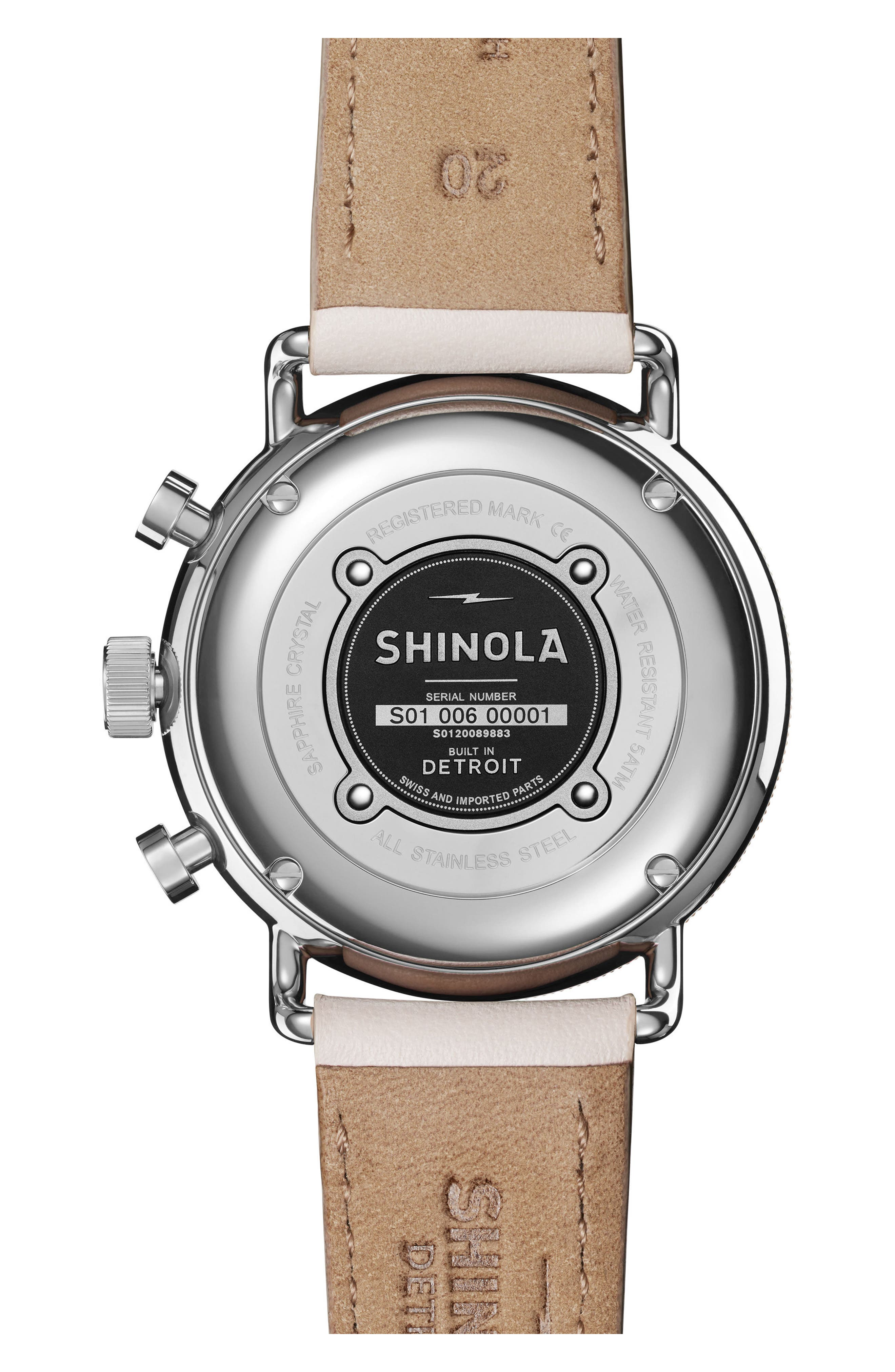 The Canfield Chrono Leather Strap Watch, 40mm,                             Alternate thumbnail 2, color,                             BLUSH/ WHITE/ ROSE GOLD
