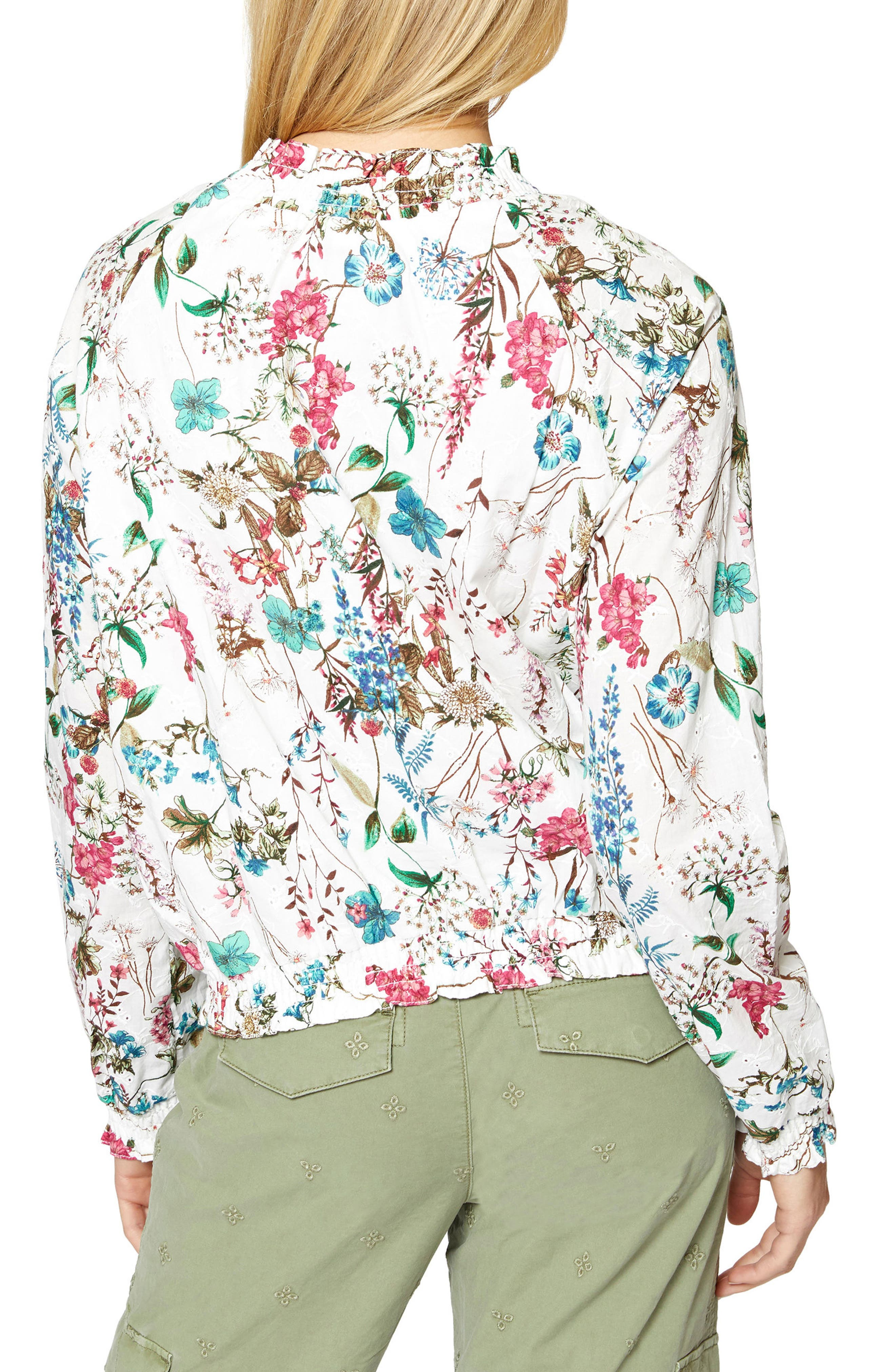 In Bloom Eyelet Bomber Jacket,                             Alternate thumbnail 2, color,                             CHEERFUL NATURE