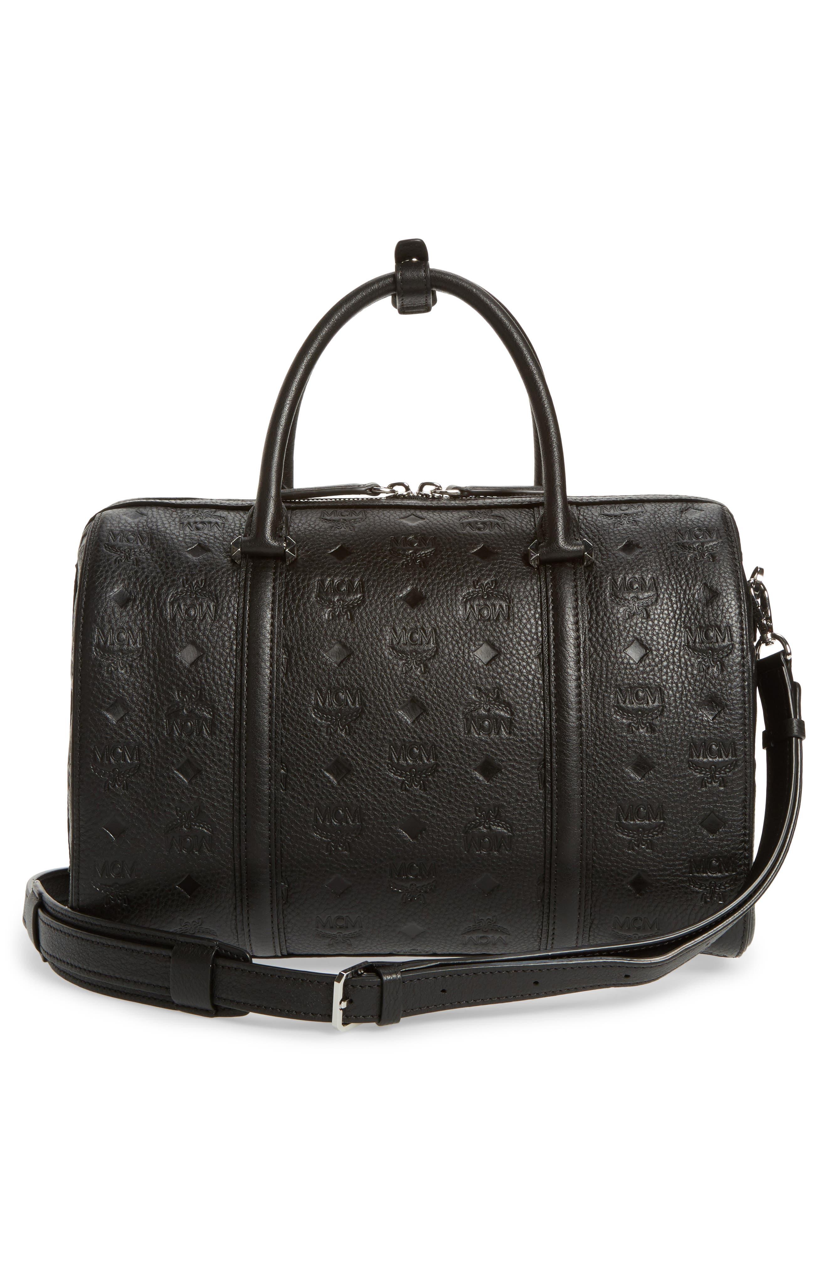 Signature Monogram Embossed Leather Crossbody Bag,                             Alternate thumbnail 3, color,                             001