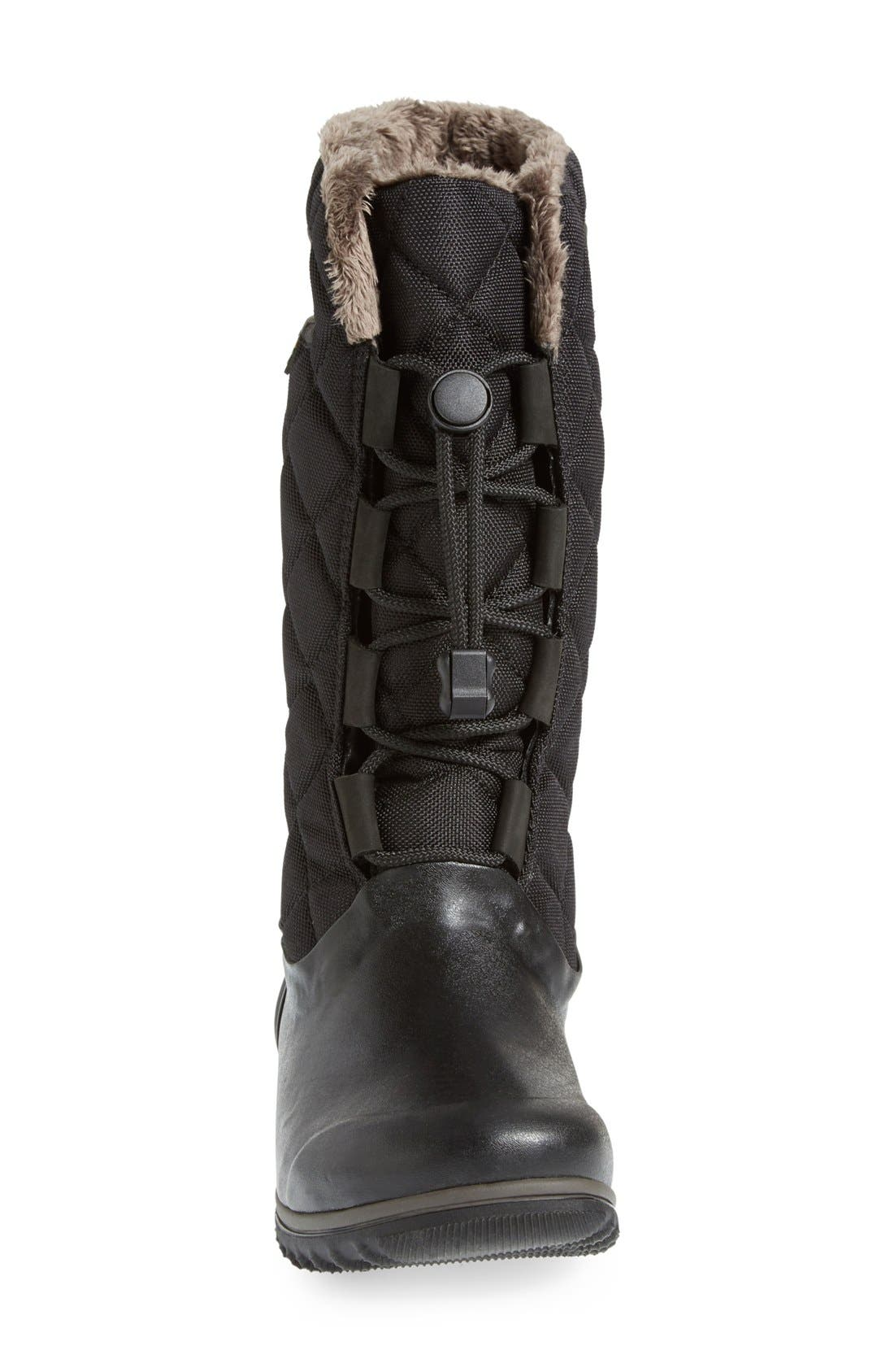 'June' Lace High Waterproof Quilted Boot,                             Alternate thumbnail 3, color,                             001