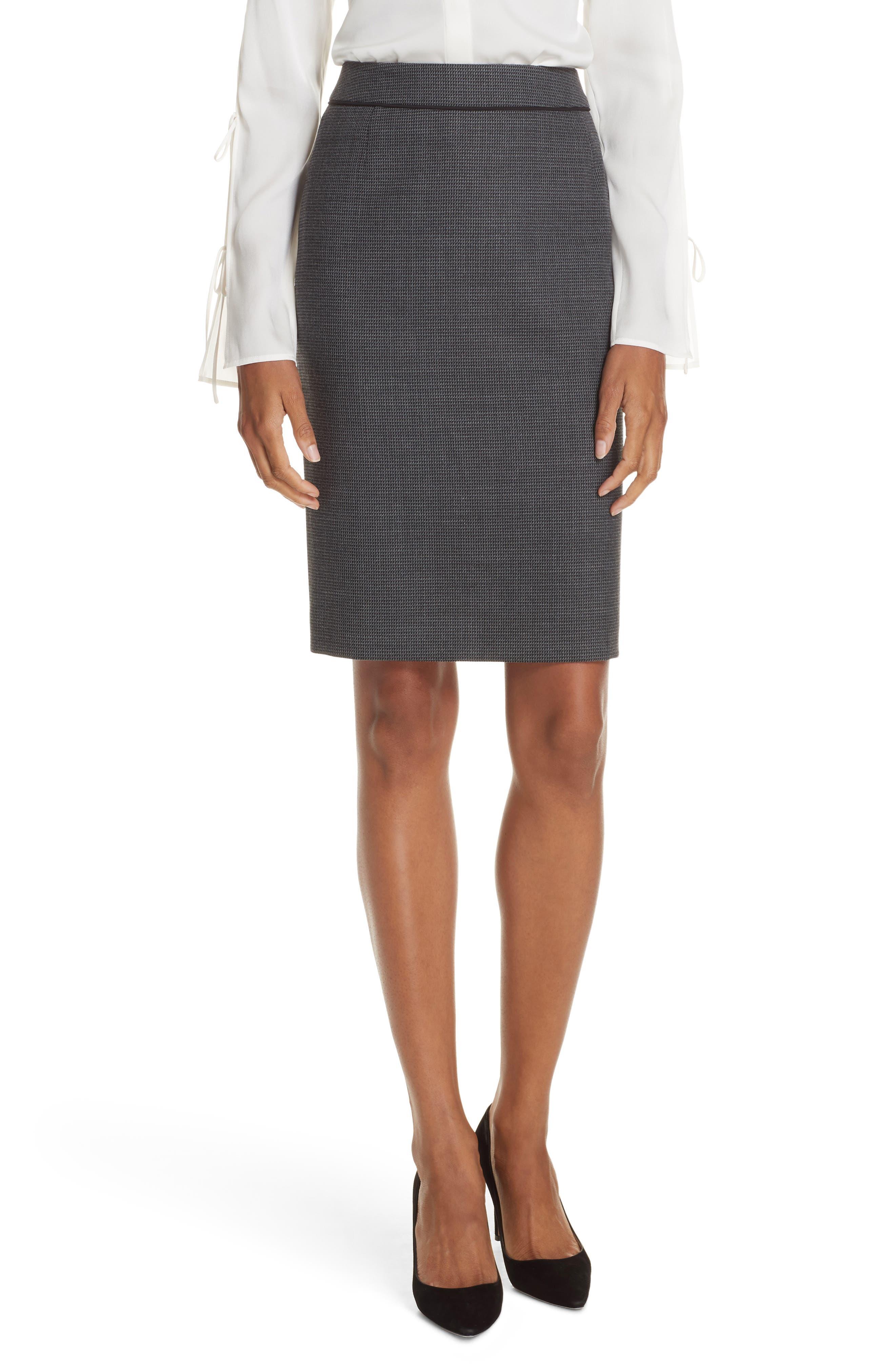 Vorita Geometric Wool Blend Suit Skirt,                             Main thumbnail 1, color,                             GREY FANTASY
