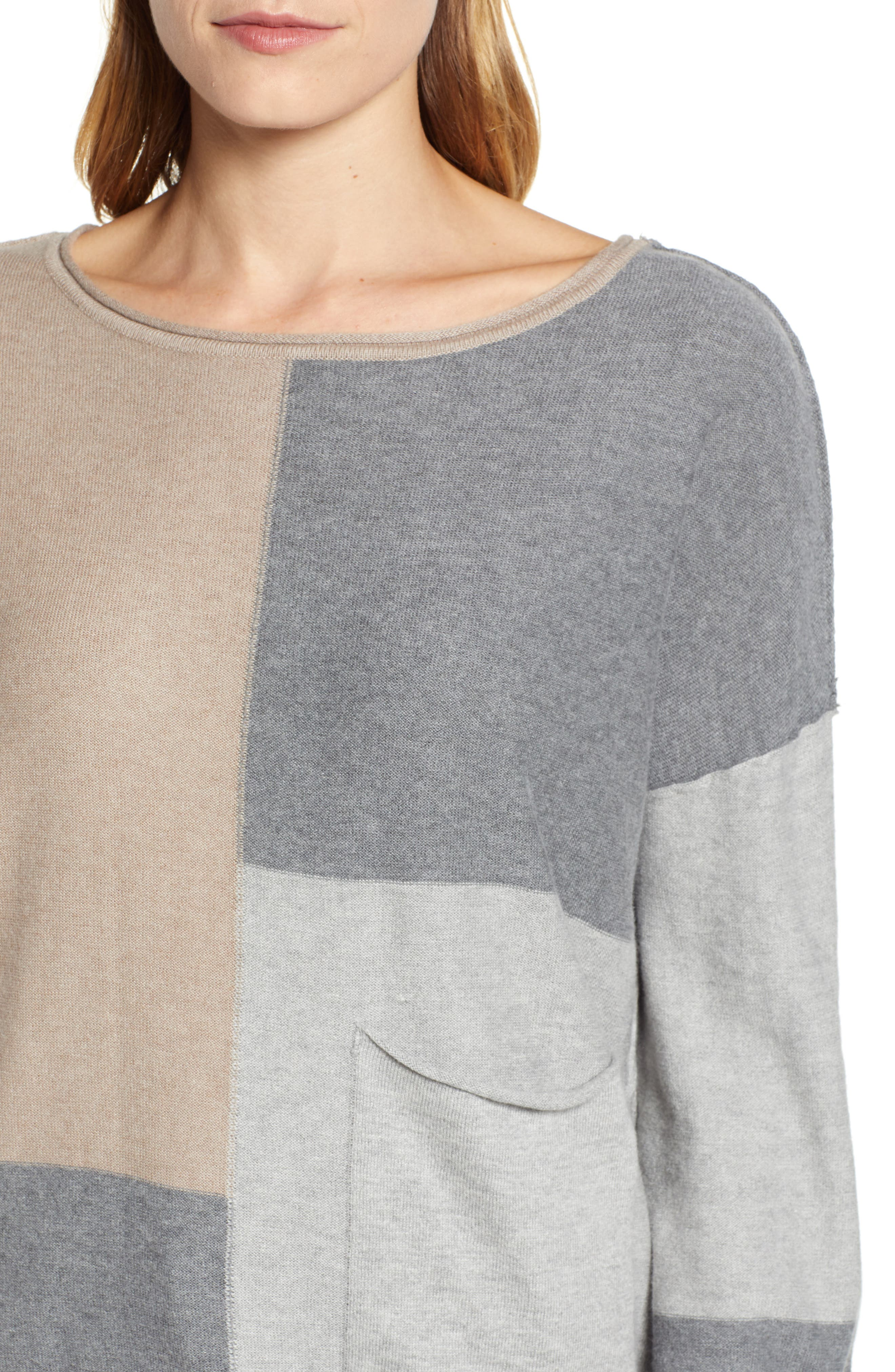 Colorblock Sweater,                             Alternate thumbnail 4, color,                             TAUPE/ HEATHER GREY