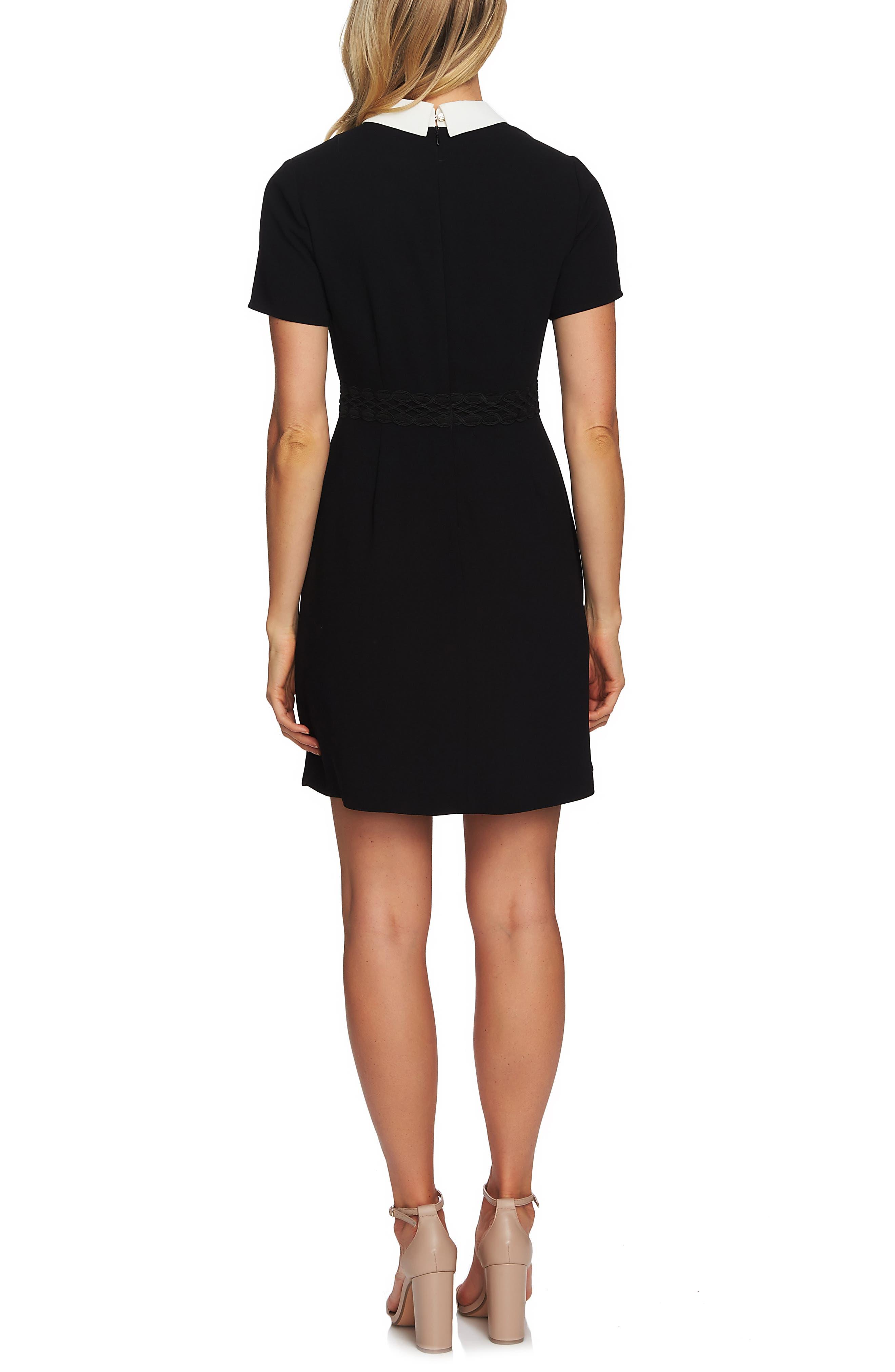 CECE,                             Collared A-Line Dress,                             Alternate thumbnail 2, color,                             RICH BLACK