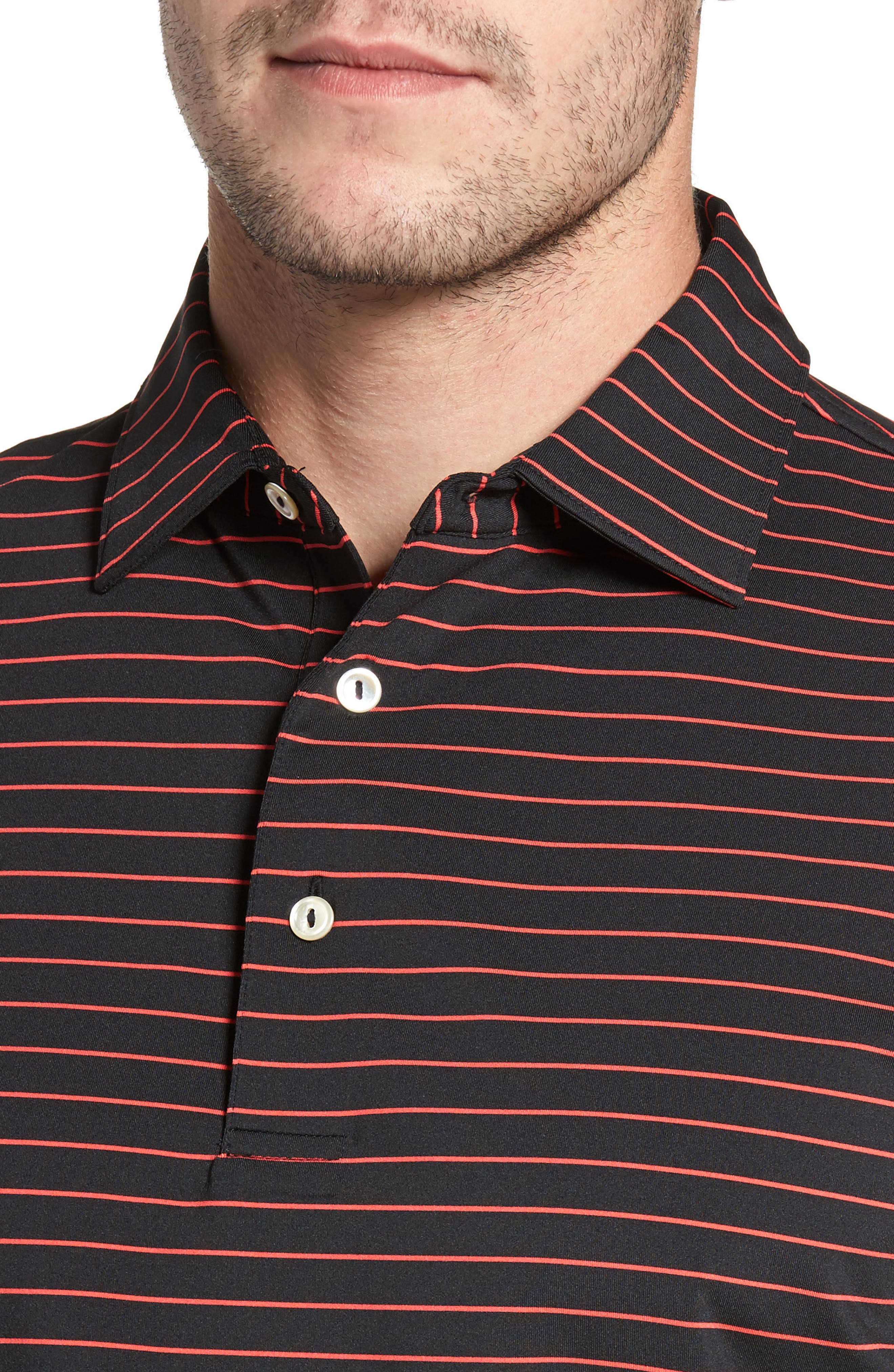 Halifax Pinstripe Stretch Jersey Polo,                             Alternate thumbnail 4, color,                             001