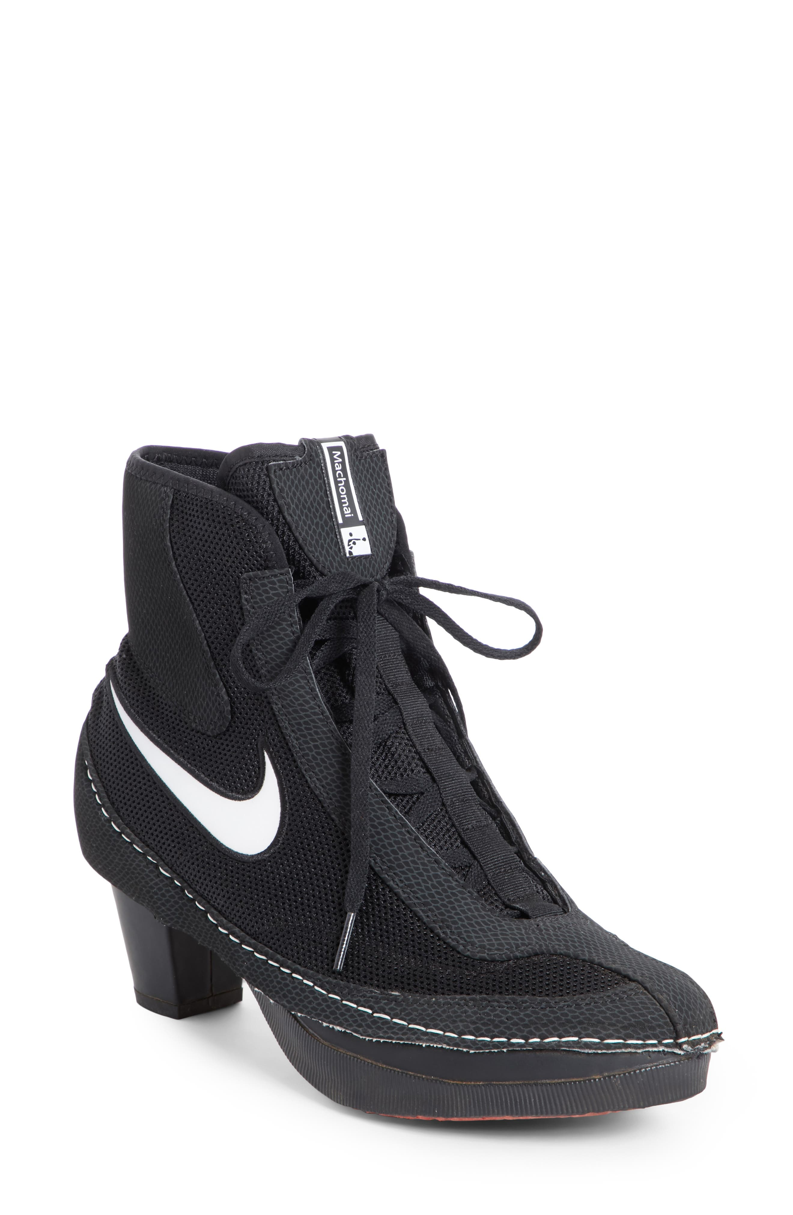 x Nike Heeled Bootie,                             Main thumbnail 1, color,                             BLACK