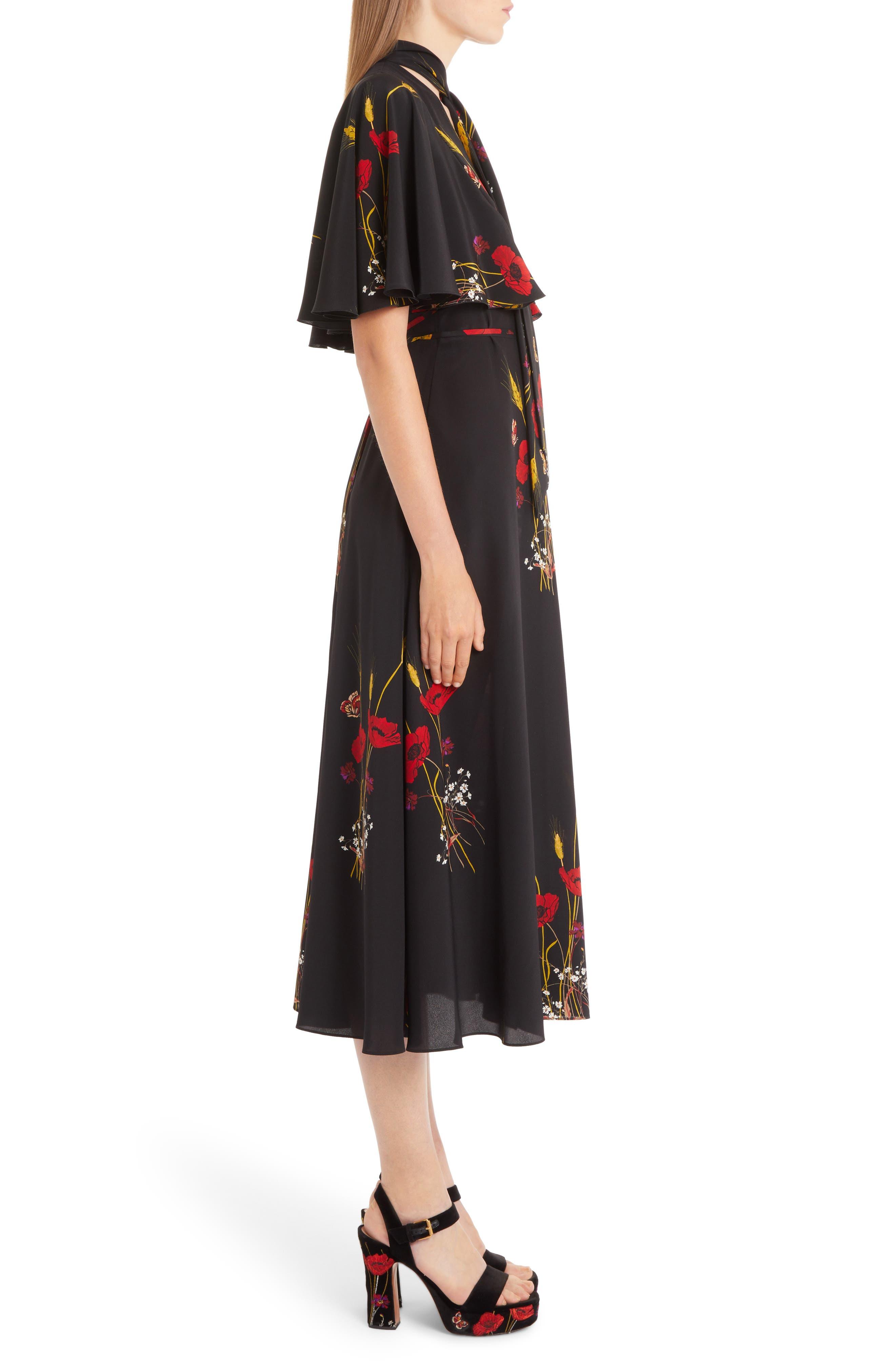 Floral Meadow Print Crêpe de Chine Faux Wrap Dress,                             Alternate thumbnail 3, color,                             BLACK/ MULTI COLOR