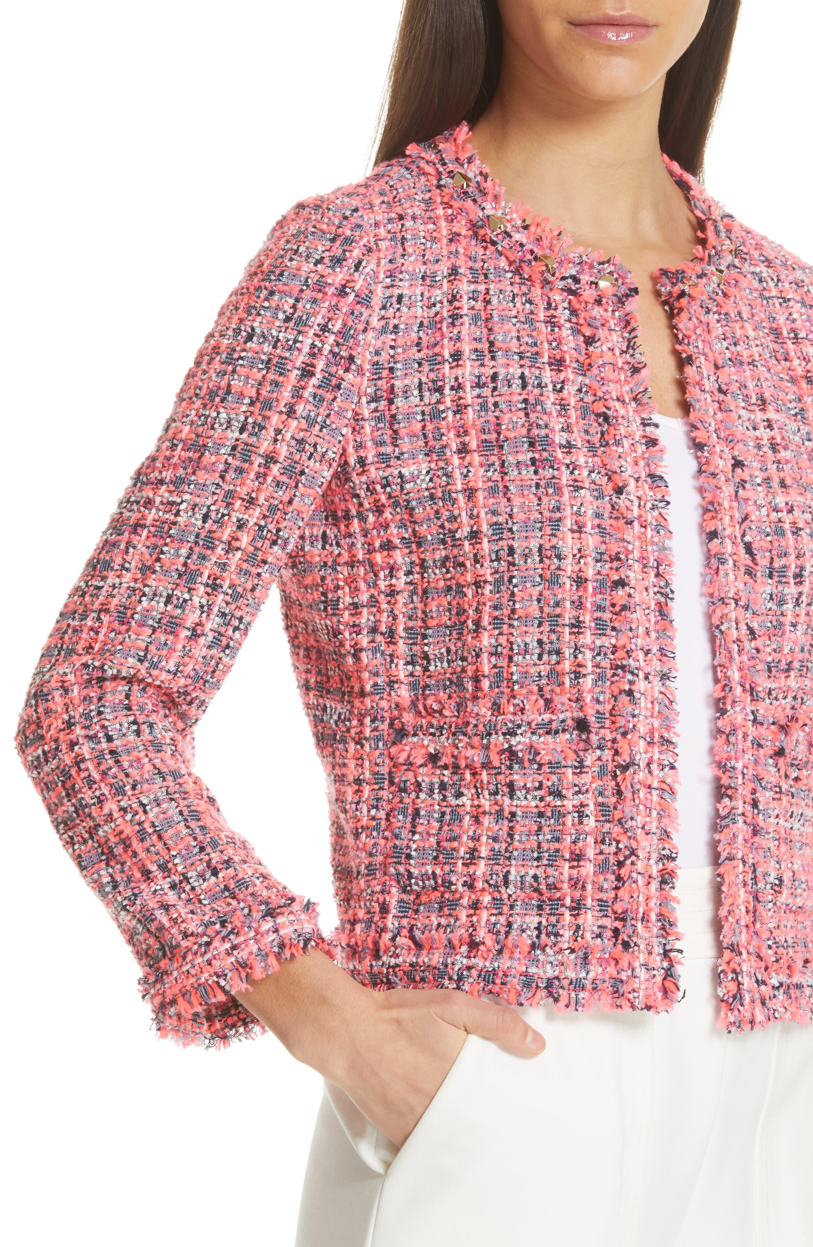 stud trim tweed jacket,                             Alternate thumbnail 4, color,                             PERFECT PEONY