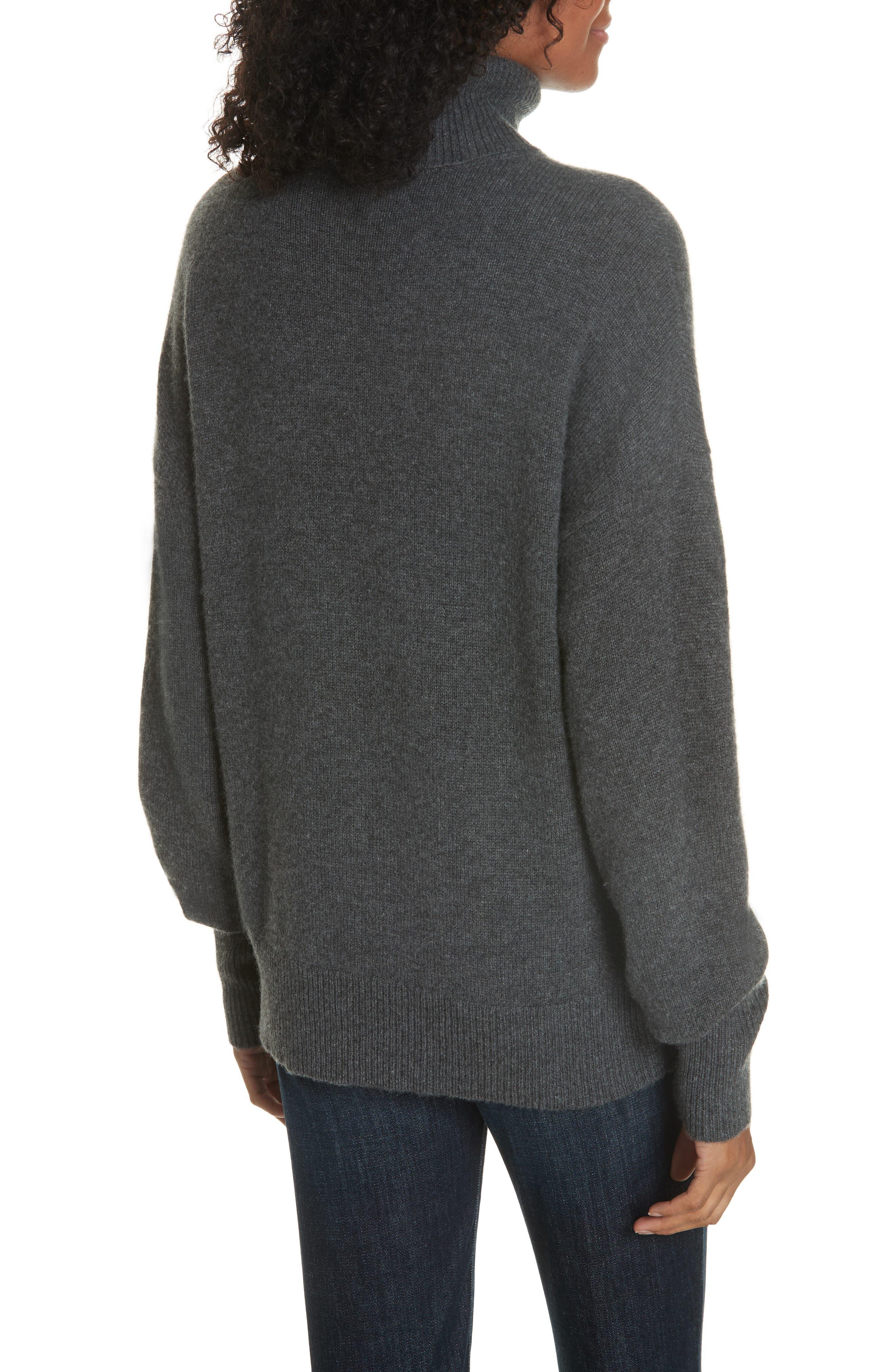 Cashmere Drop Shoulder Turtleneck Sweater,                             Alternate thumbnail 2, color,                             HEATHER BOULDER