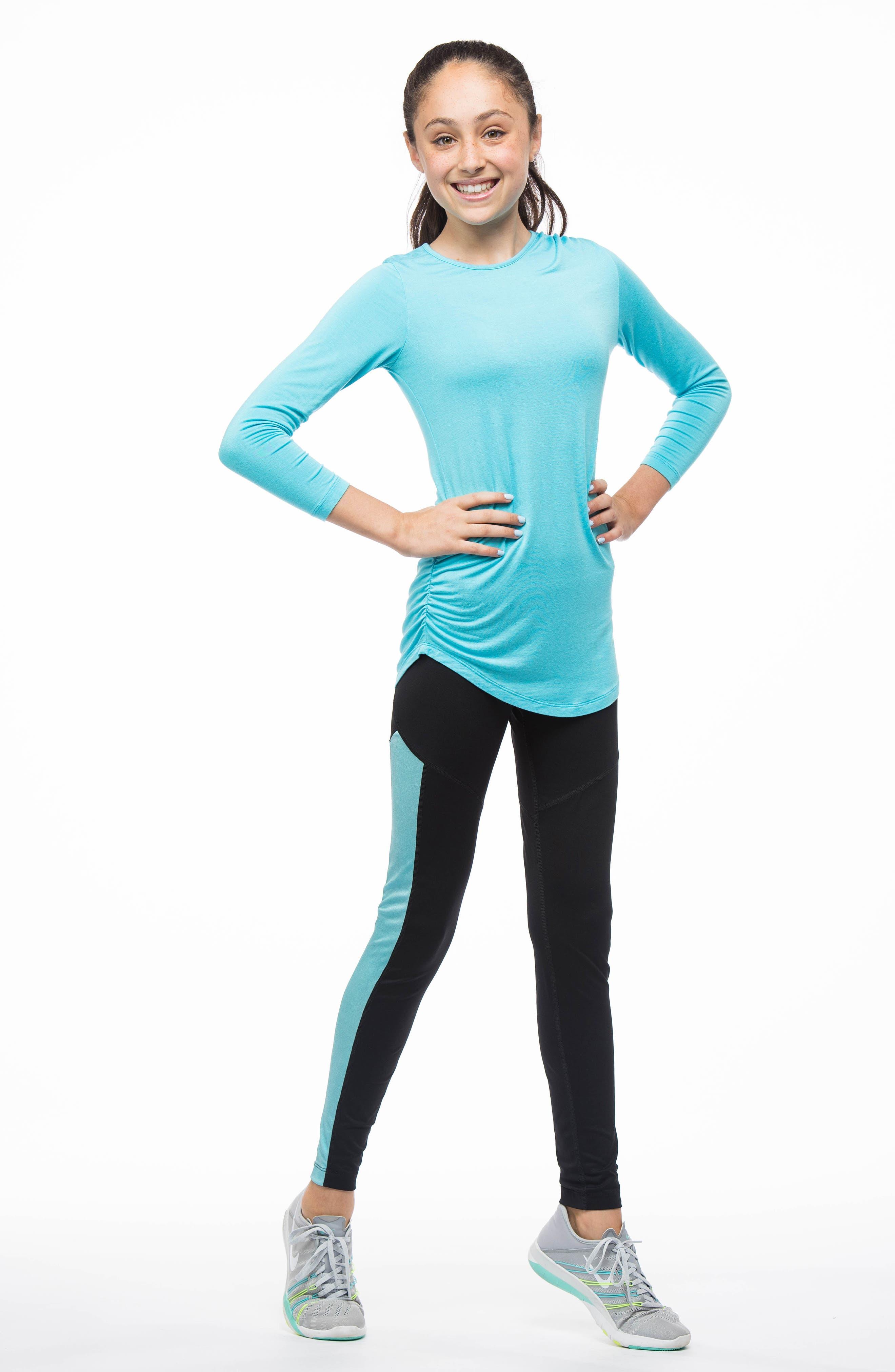 MIRA RAE,                             Zara Colorblock Leggings,                             Alternate thumbnail 6, color,                             001