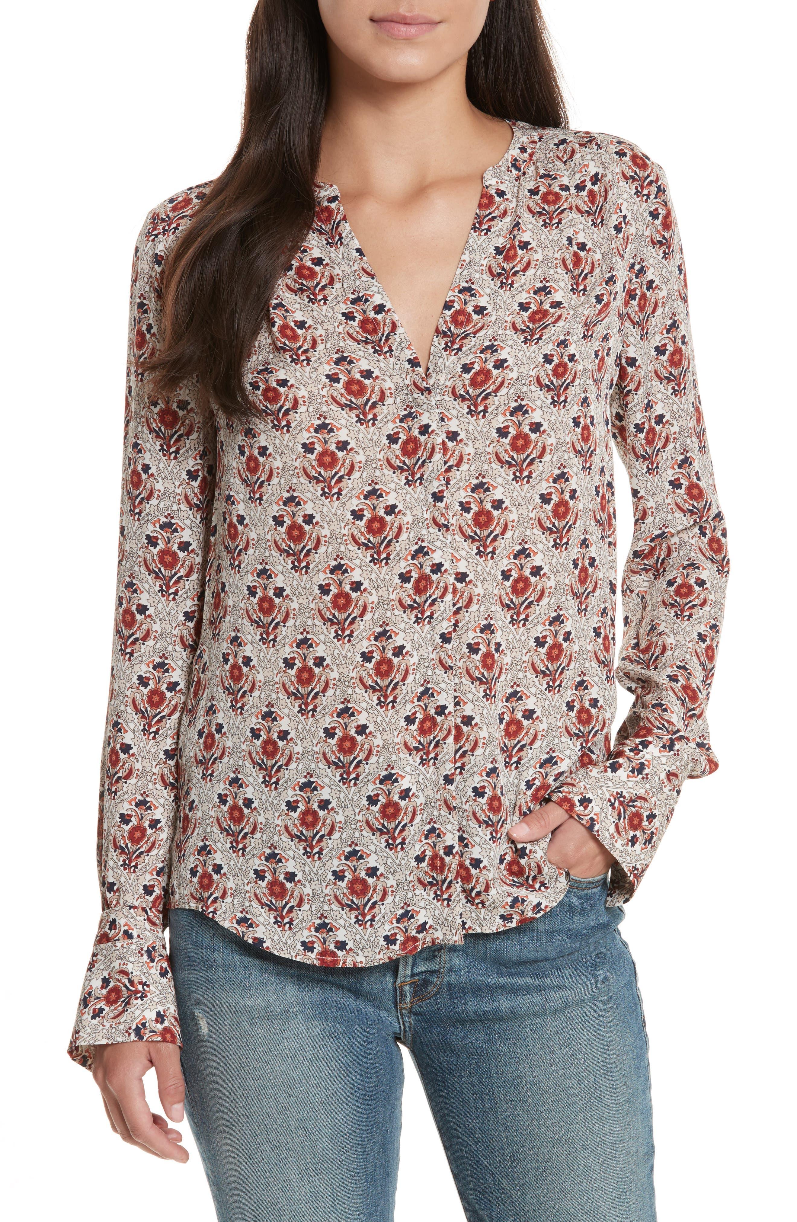 Jamiona Floral Silk Top,                         Main,                         color, 114