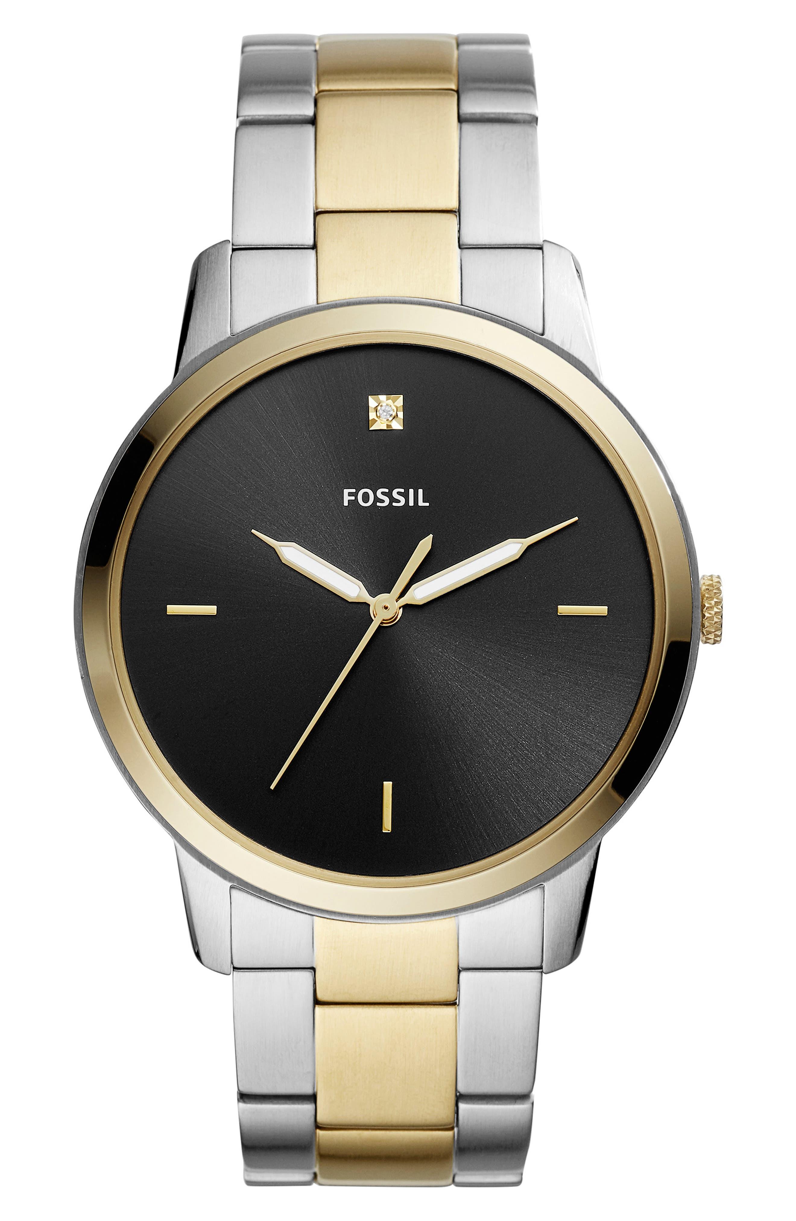 Minimalist Carbon Series Bracelet Watch, 44mm,                             Main thumbnail 1, color,                             GOLD/ BLACK/ SILVER