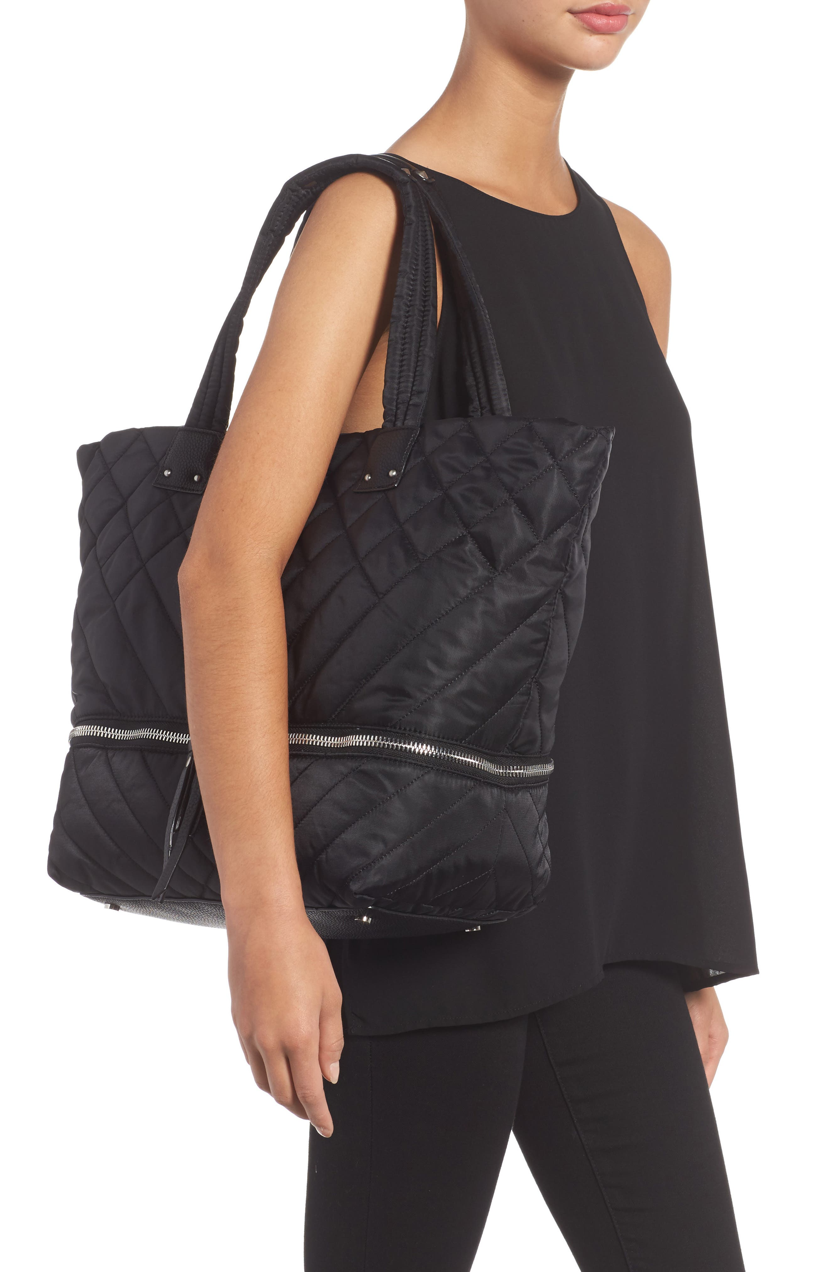 Arianna Quilted Nylon Tote,                             Alternate thumbnail 2, color,                             001