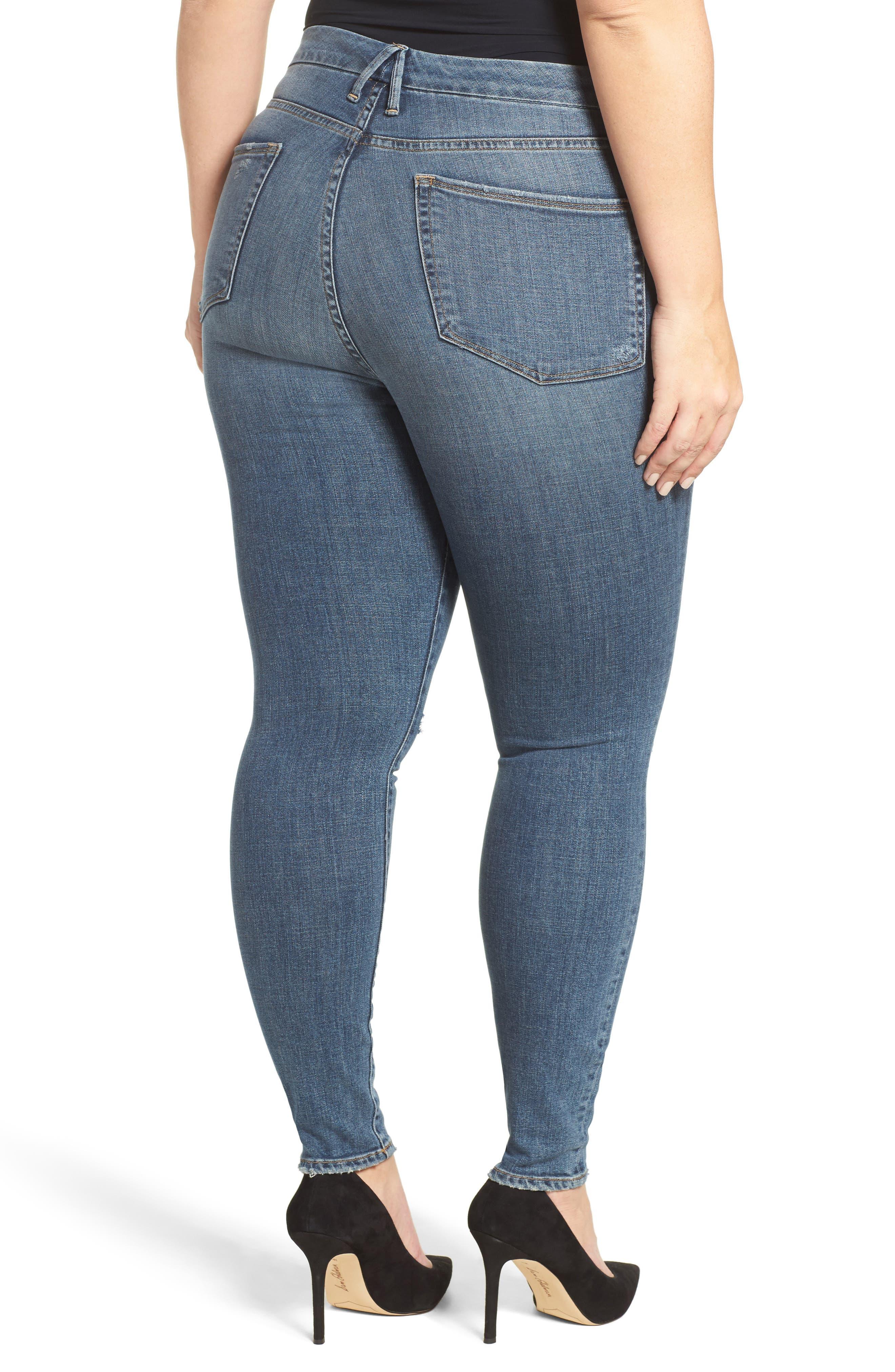 Good Waist High Waist Ripped Skinny Jeans,                             Alternate thumbnail 2, color,                             401
