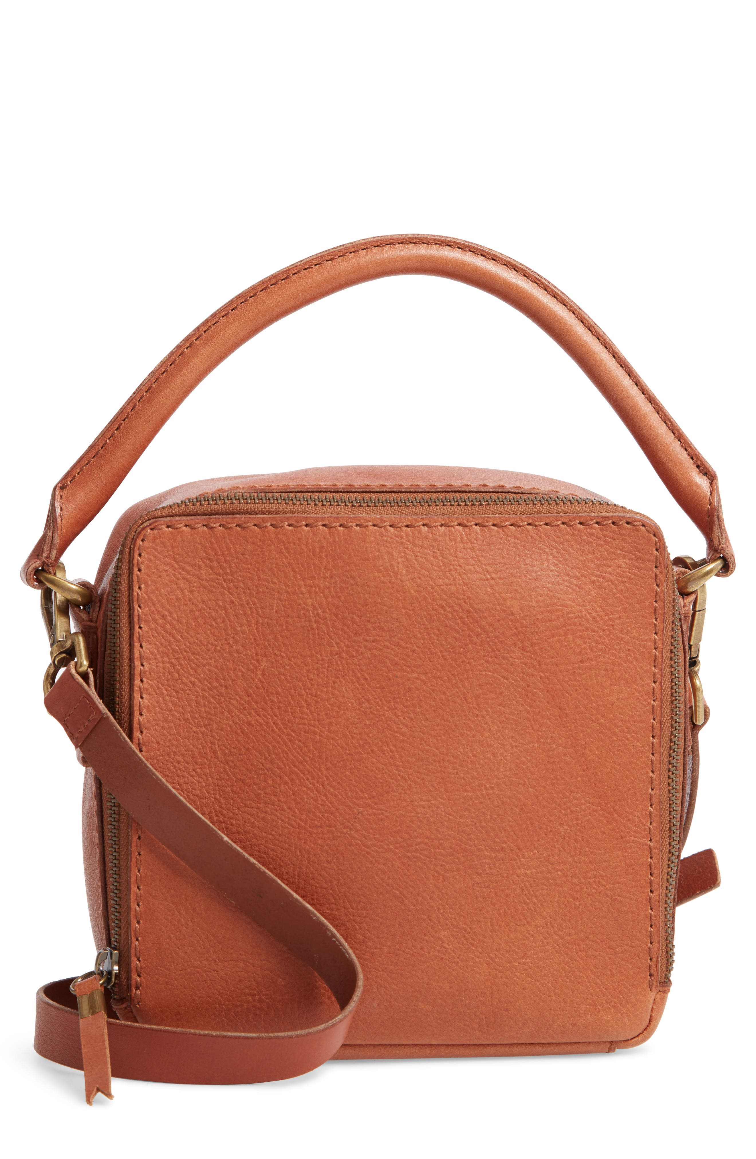 The Square Satchel Bag,                         Main,                         color, ENGLISH SADDLE
