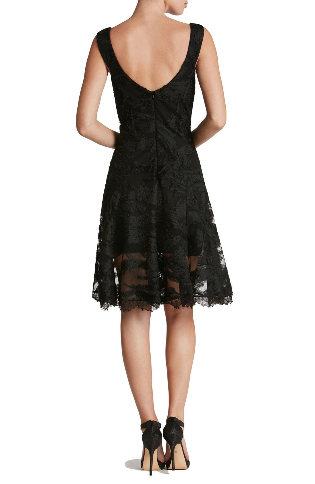Maya Woven Fit & Flare Dress,                             Alternate thumbnail 4, color,                             001
