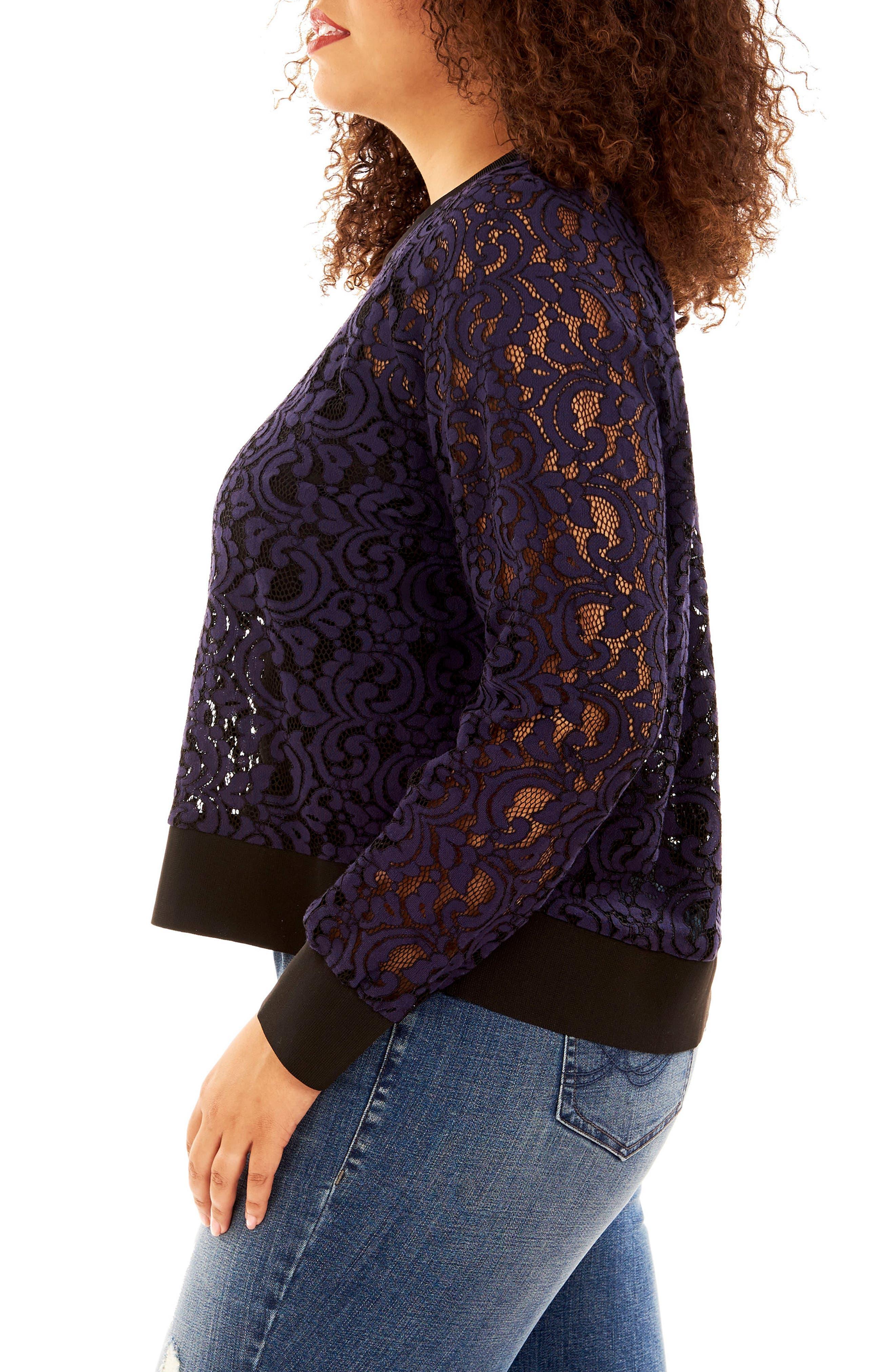 Lace Sweatshirt,                             Alternate thumbnail 6, color,