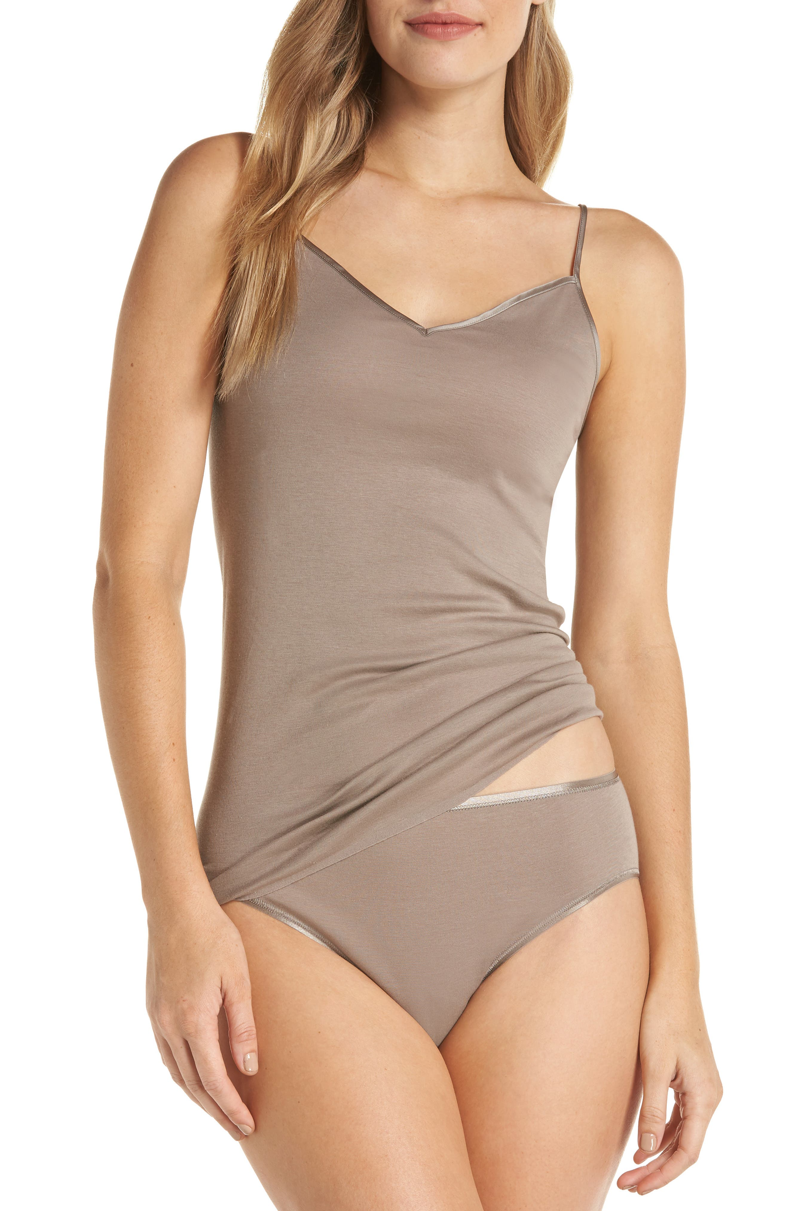 HANRO,                             Seamless V-Neck Cotton Camisole,                             Alternate thumbnail 7, color,                             VINTAGE TAUPE 1871