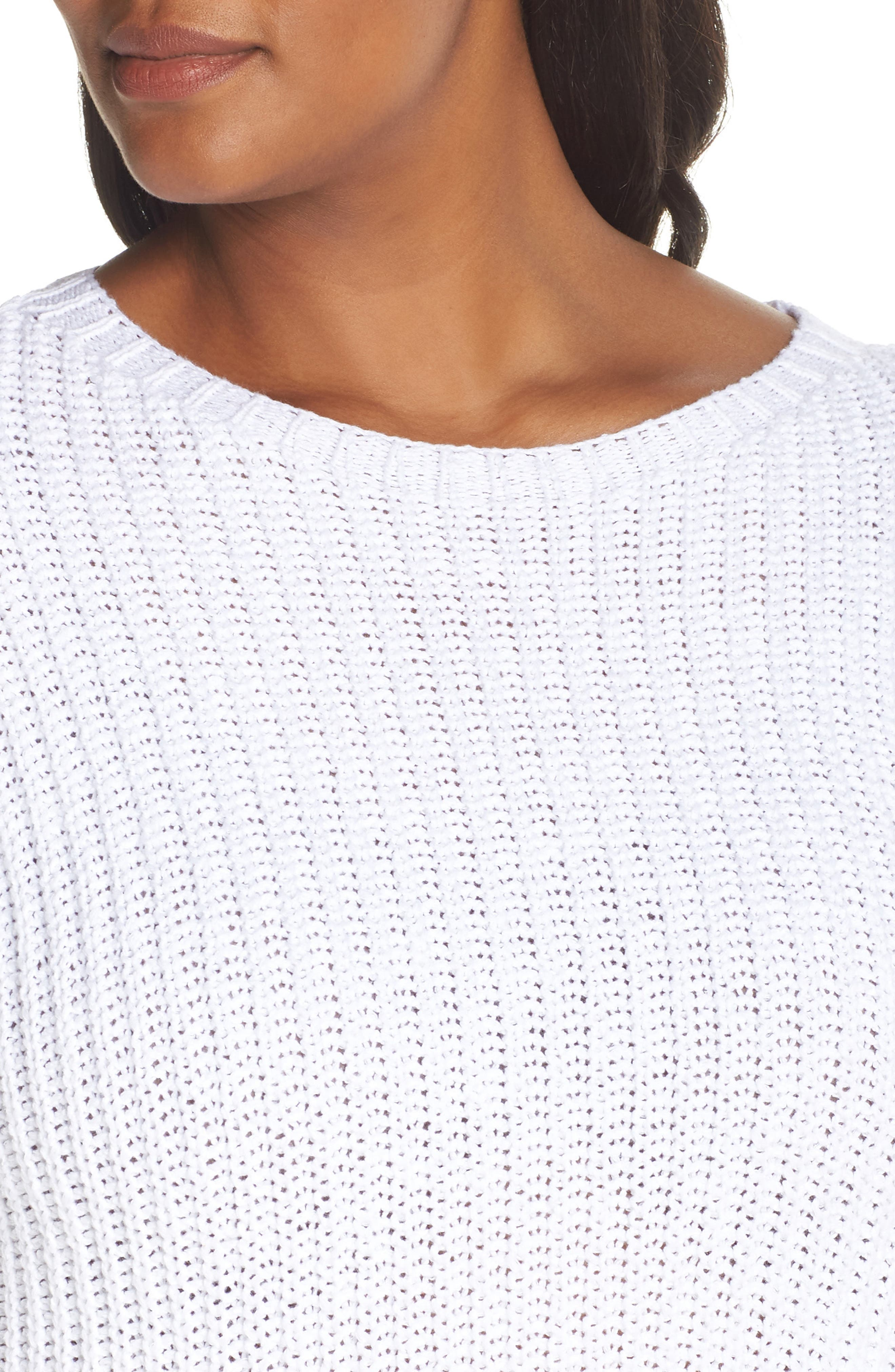 Crewneck Crop Shaker Sweater,                             Alternate thumbnail 10, color,                             WHITE