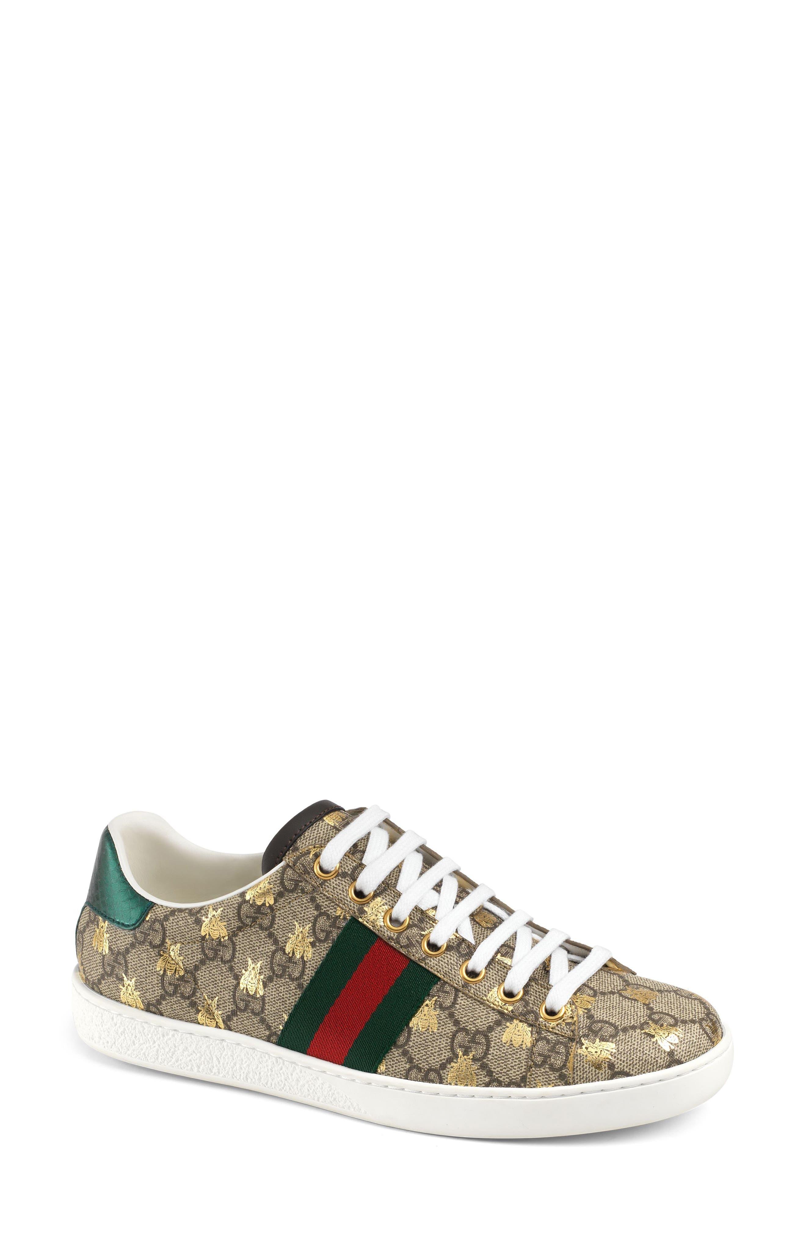 New Ace Monogram Bee Sneaker,                         Main,                         color, BEIGE/ GOLD