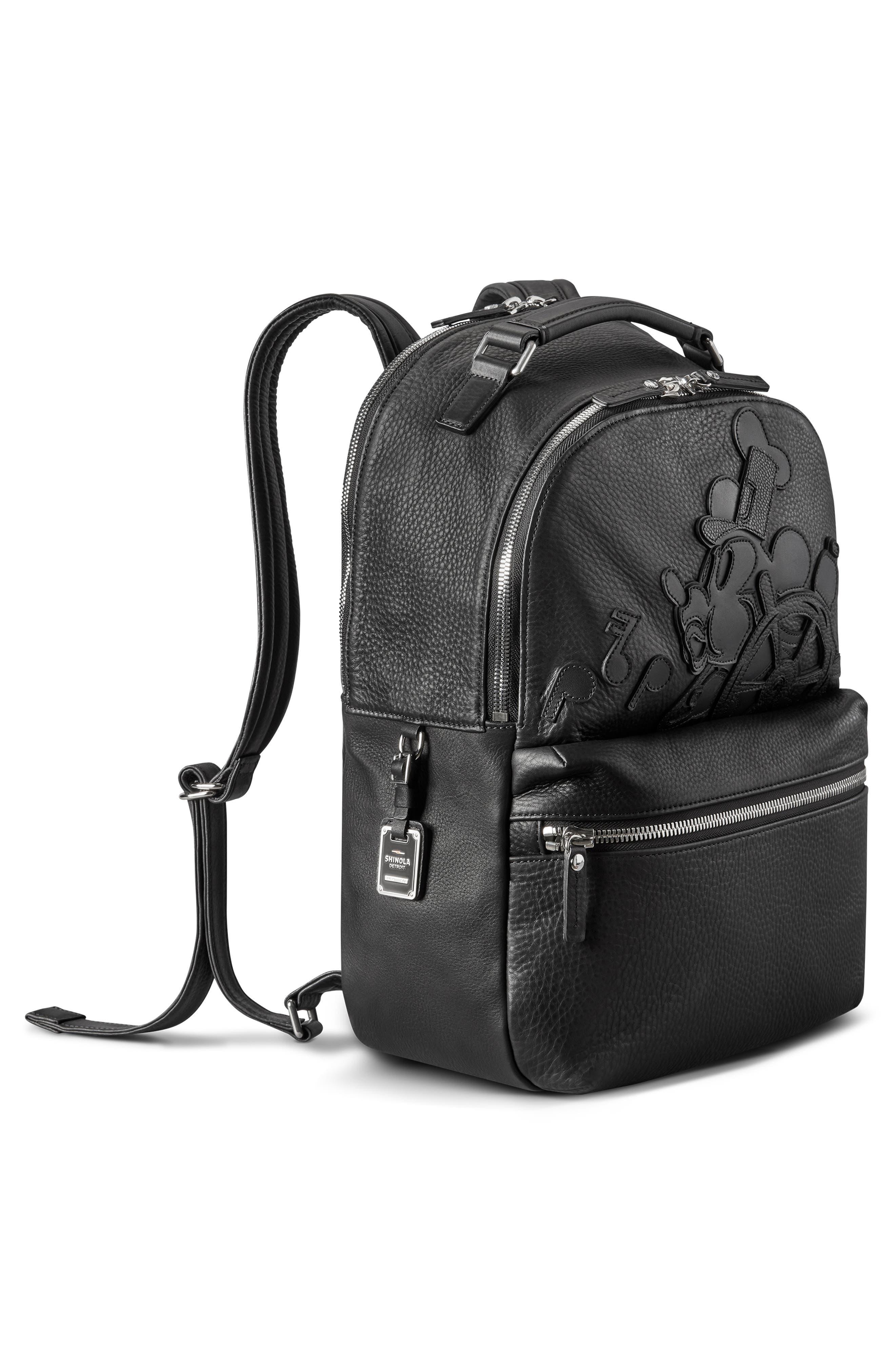 x Disney Runwell Leather Backpack,                             Alternate thumbnail 4, color,                             BLACK
