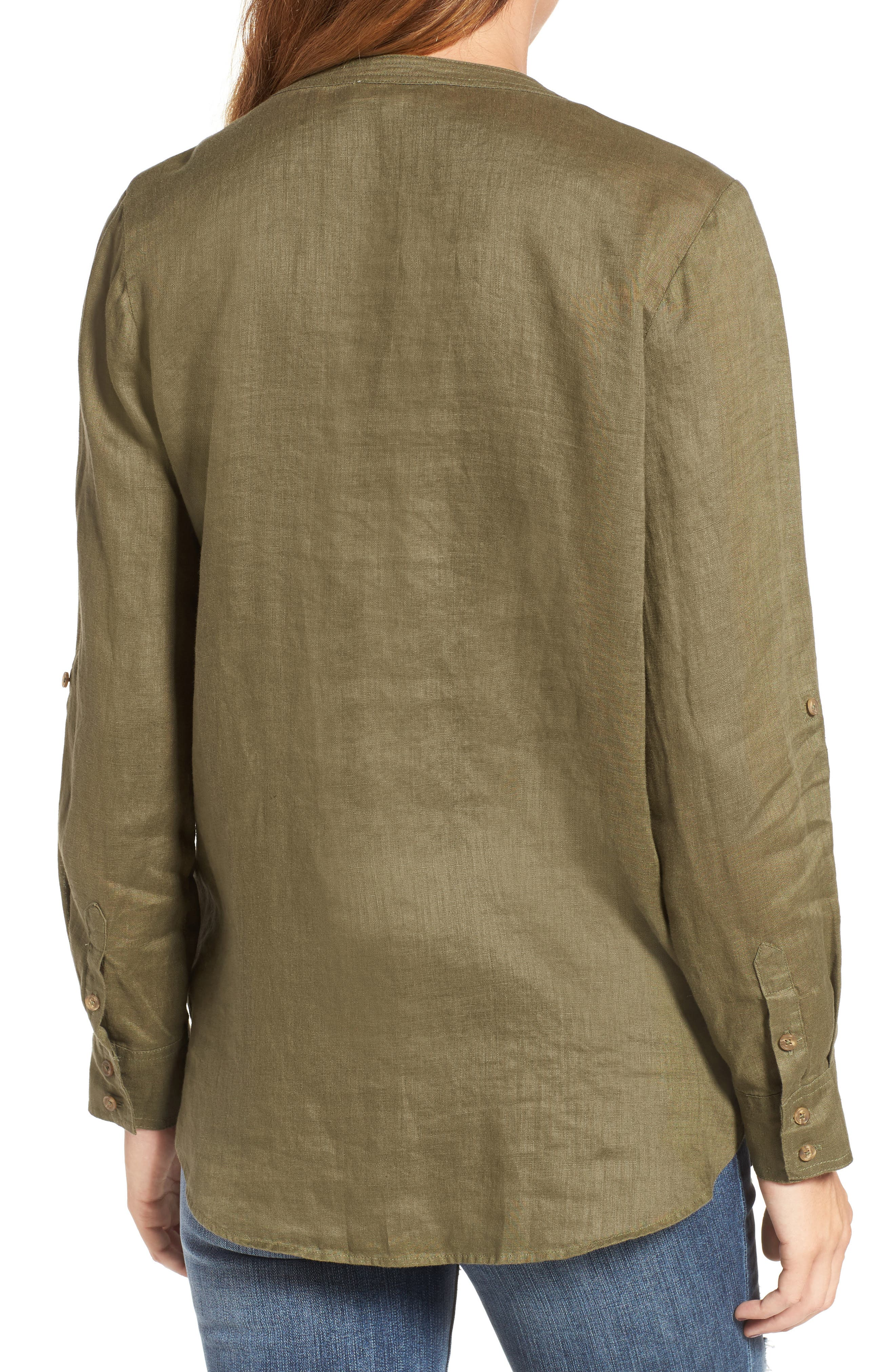 Two by Vince Camuto Collarless Linen Shirt,                             Alternate thumbnail 8, color,