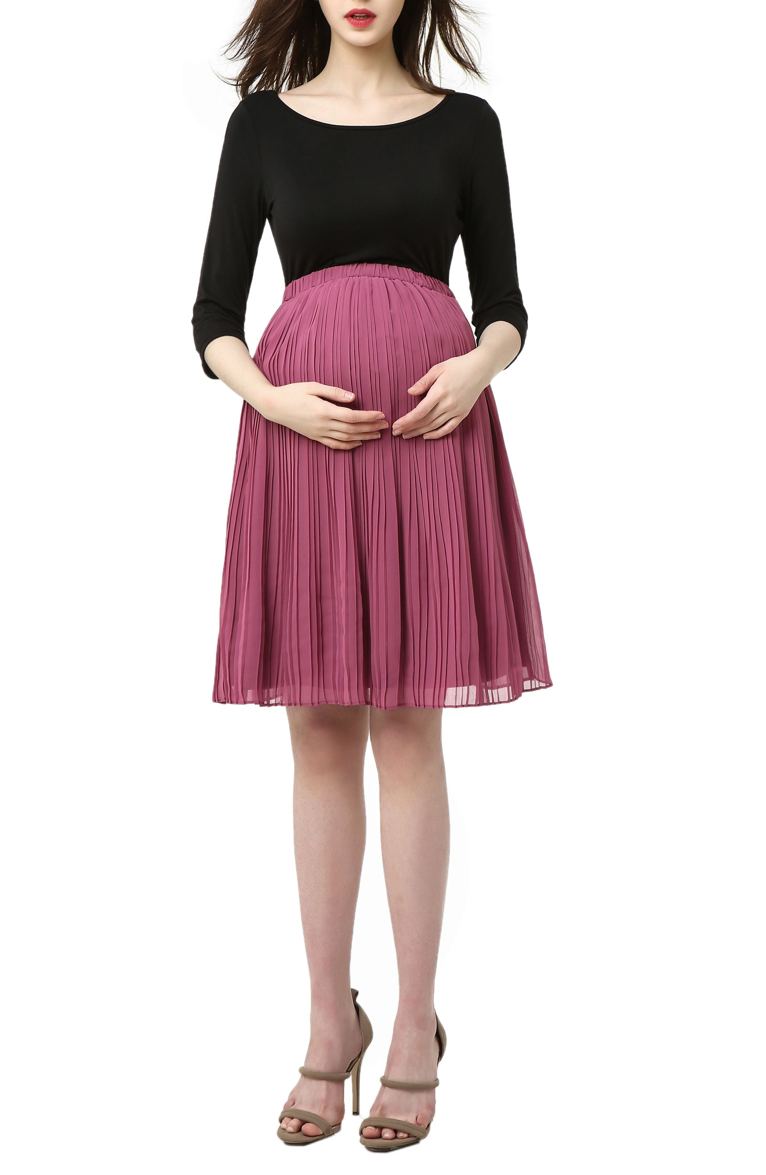 Marie Colorblock Pleat Skirt Maternity Dress,                             Main thumbnail 1, color,                             BLACK