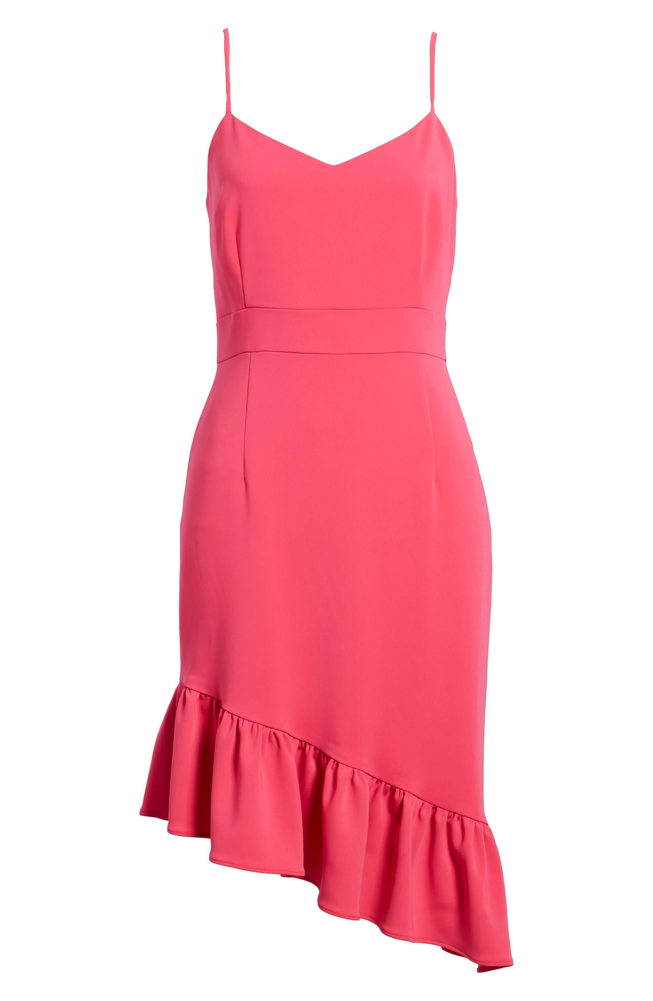 Asymmetric Ruffle Hem Dress,                             Alternate thumbnail 7, color,                             PINK BRIGHT