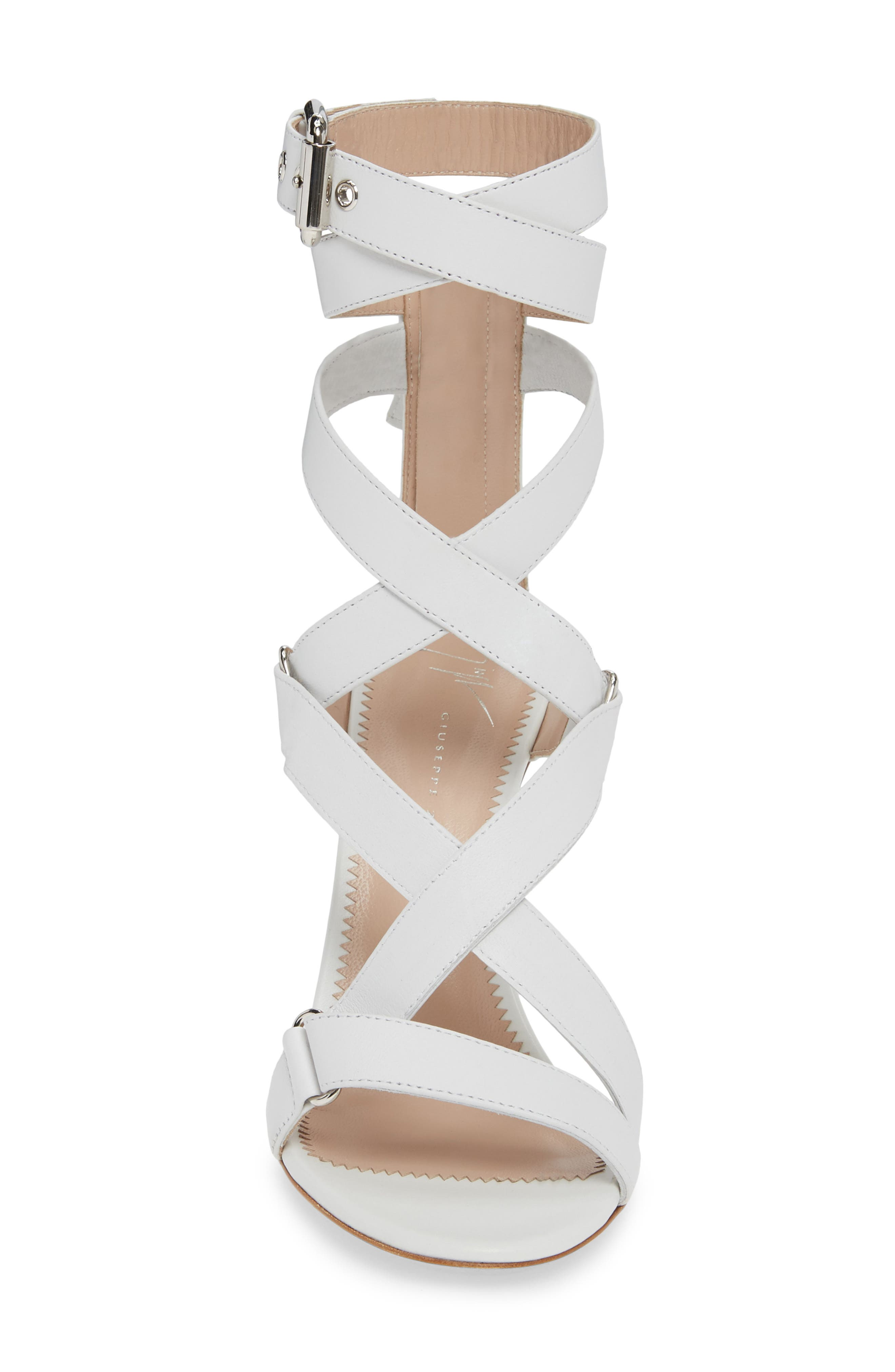 GIUSEPPE ZANOTTI,                             Wrap Sandal,                             Alternate thumbnail 4, color,                             WHITE