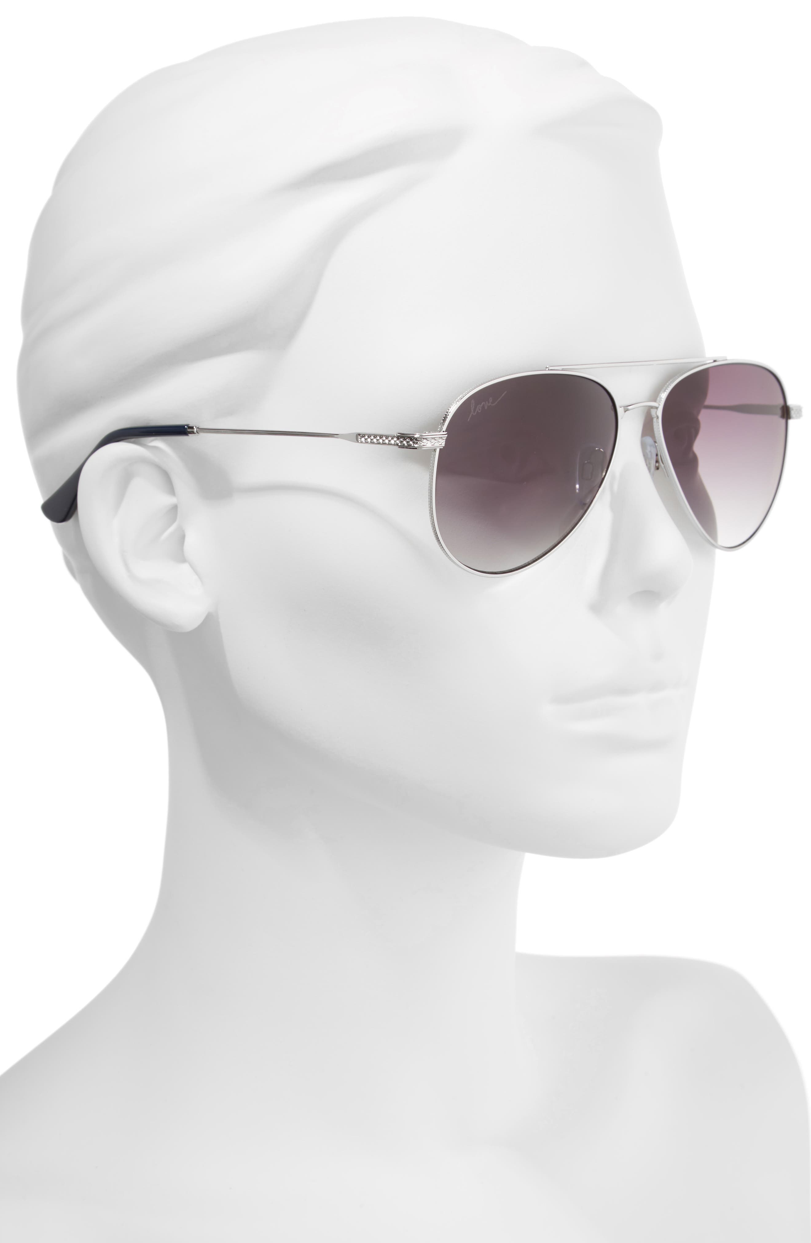 58mm Aviator Sunglasses,                             Alternate thumbnail 4, color,